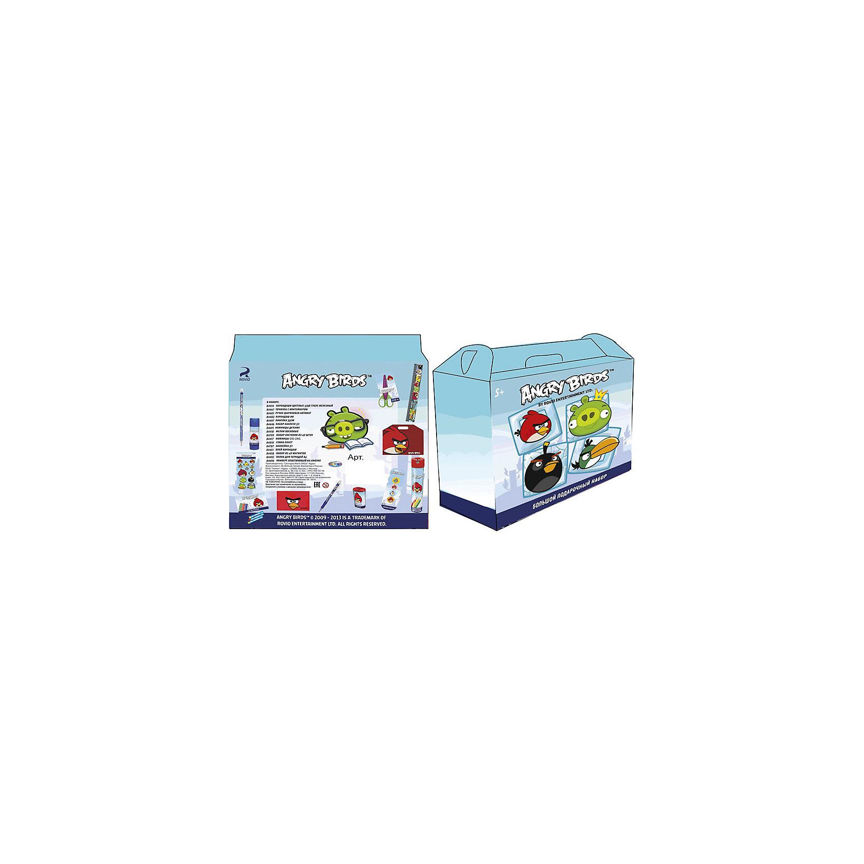 Большой подарочный набор Angry BirdsБольшой подарочный набор Angry Birds - это настоящая находка для всех школьников, поклонников игры Энгри бердз.<br>Большой подарочный набор Angry Birds - это компактный набор канцелярских принадлежностей для школьника. Все изделия выполнены в ярком стиле игры Angry Birds. Такой набор очень удобен, так как содержит все, что обязательно пригодится ребенку в школе и дома, занимаясь уроками или творчеством. Набор упакован в подарочную коробку с ручкой.<br><br>Дополнительная информация:<br><br>- В наборе: карандаши цветные (12 шт.) - тубус железный; точилка с контейнером; ручка шариковая автомат; карандаш HB; линейка 30 см; набор наклеек 3D; ножницы детские; мелки восковые; набор ластиков (4 шт.); ножницы Zig-Zag; сумка-пакет; наклейка 3D; клей-карандаш; набор из 4-х магнитов; папка для тетрадей А4; конверт пластиковый на кнопке<br>- Упаковка: подарочная коробка с ручкой<br><br>Большой подарочный набор Angry Birds можно купить в нашем интернет-магазине.<br><br>Ширина мм: 150<br>Глубина мм: 150<br>Высота мм: 150<br>Вес г: 100<br>Возраст от месяцев: 36<br>Возраст до месяцев: 120<br>Пол: Унисекс<br>Возраст: Детский<br>SKU: 4535527