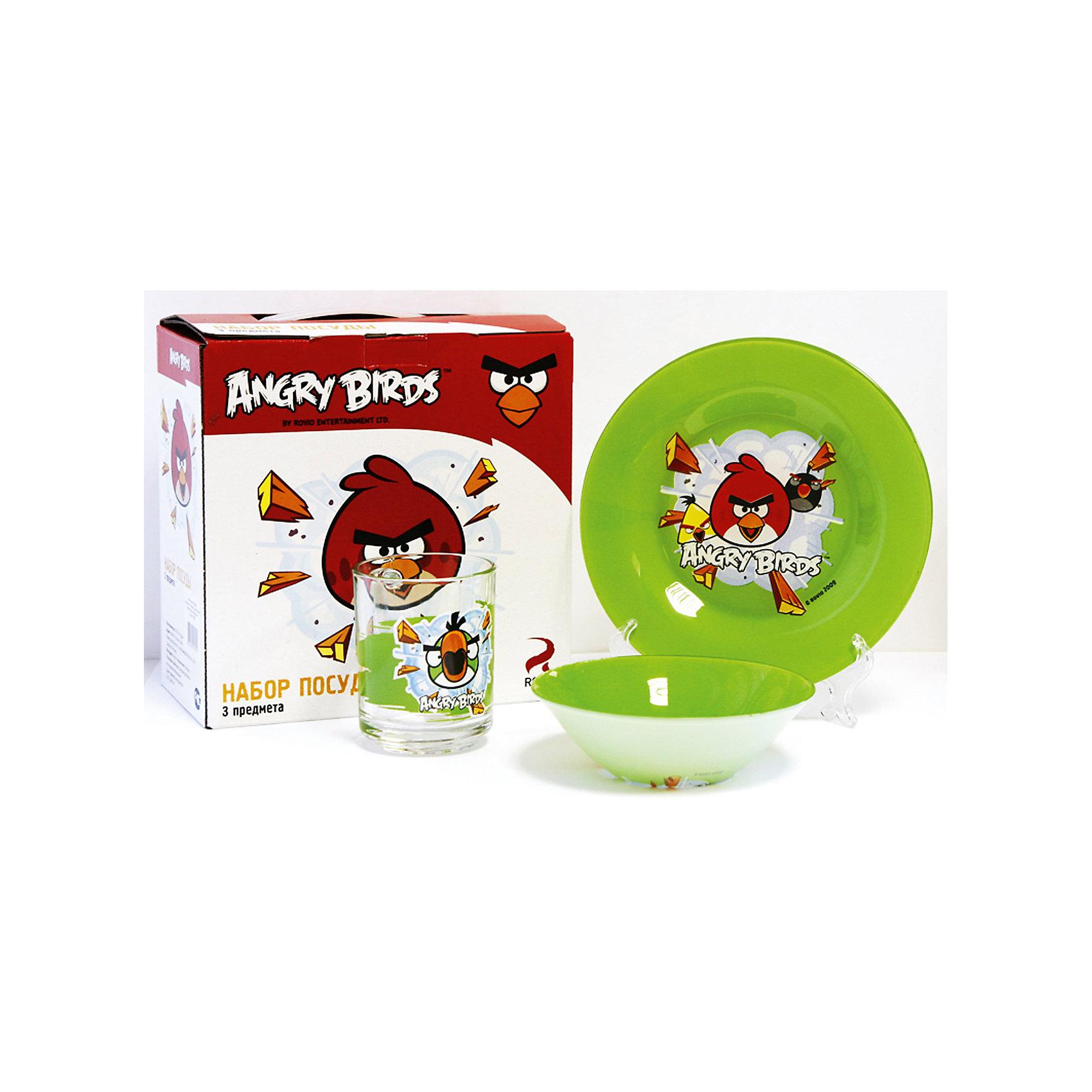 Зеленый набор посуды (3 предмета, стекло), Angry BirdsНабор Энгри Бердз - Зелёный 3 пр.: кружка 250 мл, тарелка 19,5 см, салатник 14 см.<br><br>Ширина мм: 205<br>Глубина мм: 110<br>Высота мм: 205<br>Вес г: 860<br>Возраст от месяцев: 36<br>Возраст до месяцев: 144<br>Пол: Унисекс<br>Возраст: Детский<br>SKU: 4536166