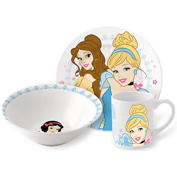 Набор керамической посуды Принцессы Дисней (3 предмета)Детская посуда<br>Дети любят окружать себя всем, что связано с их любимыми героями. <br>Любая девочка придет в восторг от такого набора посуды. Яркий набор выполнен в едином стиле, декорирован изображениями диснеевских принцесс. Такая красивая и практичная посуда непременно понравится малышке. Все изделия выполнены из каменной керамики, которая производится без добавления химических красителей и различных примесей. Абсолютно гладкая поверхность препятствует проникновению бактерий и посторонних запахов в посуду. Можно использовать и посудомоечной машине и СВЧ.<br><br> Дополнительная информация: <br><br>- возраст: от 3 лет.<br>        в набор входят:<br>- миска: (? 18 см). <br>- тарелка: 19 см.<br>- кружка: 210 мл.<br>- материал: керамика.<br>- размер упаковки: 23х8,5х19,5 см.<br><br>Набор керамической посуды Принцессы (3 предмета), Disney Princess ( Принцессы Диснея) можно купить в нашем интернет-магазине.<br><br>Ширина мм: 250<br>Глубина мм: 85<br>Высота мм: 200<br>Вес г: 973<br>Возраст от месяцев: 36<br>Возраст до месяцев: 108<br>Пол: Женский<br>Возраст: Детский<br>SKU: 4536171
