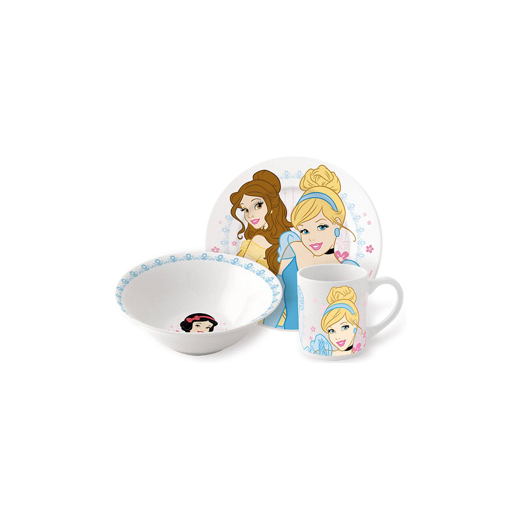 Набор керамической посуды Принцессы Дисней (3 предмета)Дети любят окружать себя всем, что связано с их любимыми героями. <br>Любая девочка придет в восторг от такого набора посуды. Яркий набор выполнен в едином стиле, декорирован изображениями диснеевских принцесс. Такая красивая и практичная посуда непременно понравится малышке. Все изделия выполнены из каменной керамики, которая производится без добавления химических красителей и различных примесей. Абсолютно гладкая поверхность препятствует проникновению бактерий и посторонних запахов в посуду. Можно использовать и посудомоечной машине и СВЧ.<br><br> Дополнительная информация: <br><br>- возраст: от 3 лет.<br>        в набор входят:<br>- миска: (? 18 см). <br>- тарелка: 19 см.<br>- кружка: 210 мл.<br>- материал: керамика.<br>- размер упаковки: 23х8,5х19,5 см.<br><br>Набор керамической посуды Принцессы (3 предмета), Disney Princess ( Принцессы Диснея) можно купить в нашем интернет-магазине.<br><br>Ширина мм: 250<br>Глубина мм: 85<br>Высота мм: 200<br>Вес г: 973<br>Возраст от месяцев: 36<br>Возраст до месяцев: 108<br>Пол: Женский<br>Возраст: Детский<br>SKU: 4536171
