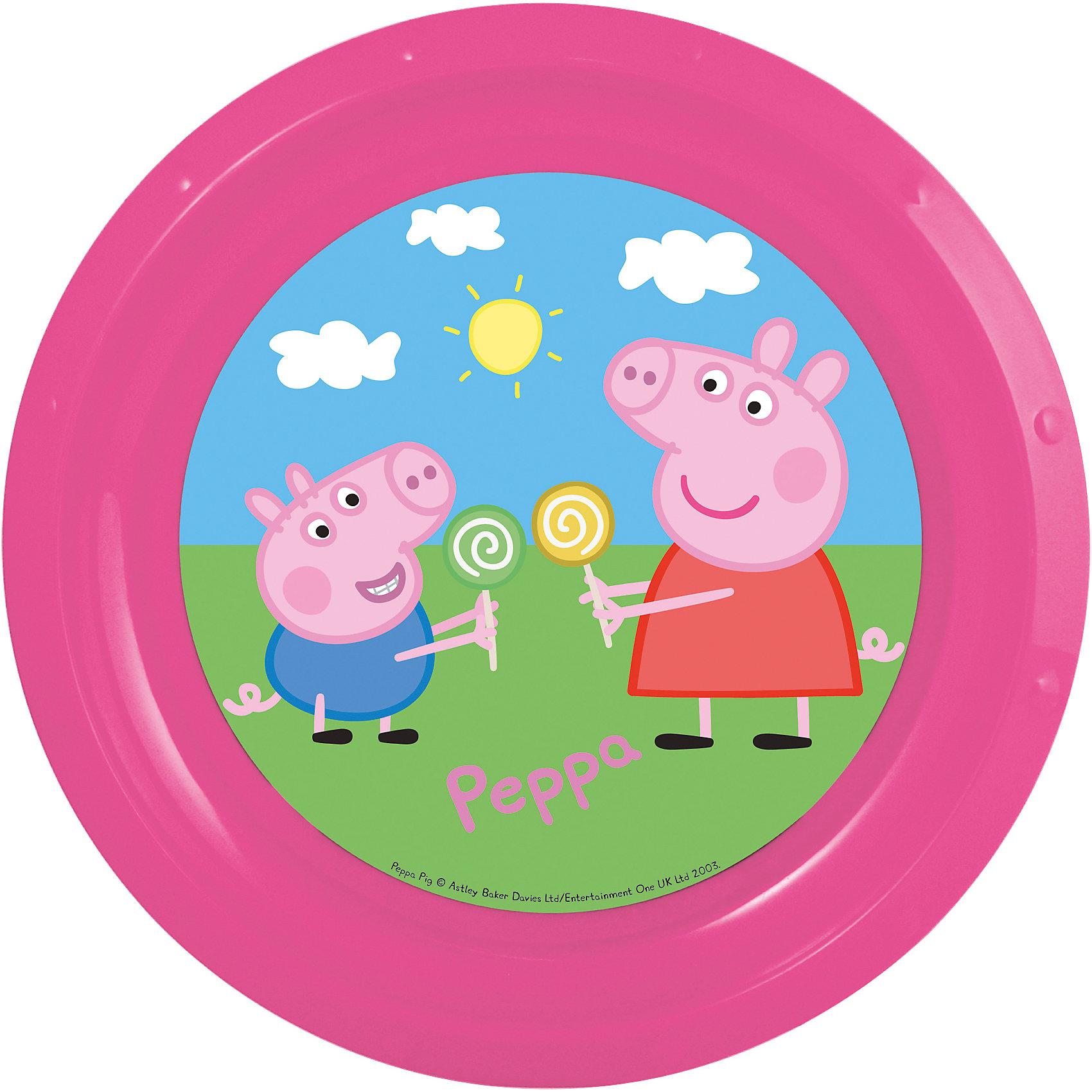 Тарелка Свинка Пеппа, диаметр 21,5 смСвинка Пеппа<br>Яркая пластиковая тарелка с изображением героев популярного мультфильма «Свинка Пеппа», отличается высоким качеством пластика, безопасна для здоровья ребенка. <br><br>Дополнительная информация:<br><br>- размер изделия — 21.5*21.5*1.9 см.<br><br>Тарелку Свинка Пеппа, диаметром 21,5 см можно купить в нашем интернет-магазине.<br><br>Ширина мм: 215<br>Глубина мм: 215<br>Высота мм: 19<br>Вес г: 43<br>Возраст от месяцев: 36<br>Возраст до месяцев: 84<br>Пол: Унисекс<br>Возраст: Детский<br>SKU: 4536190