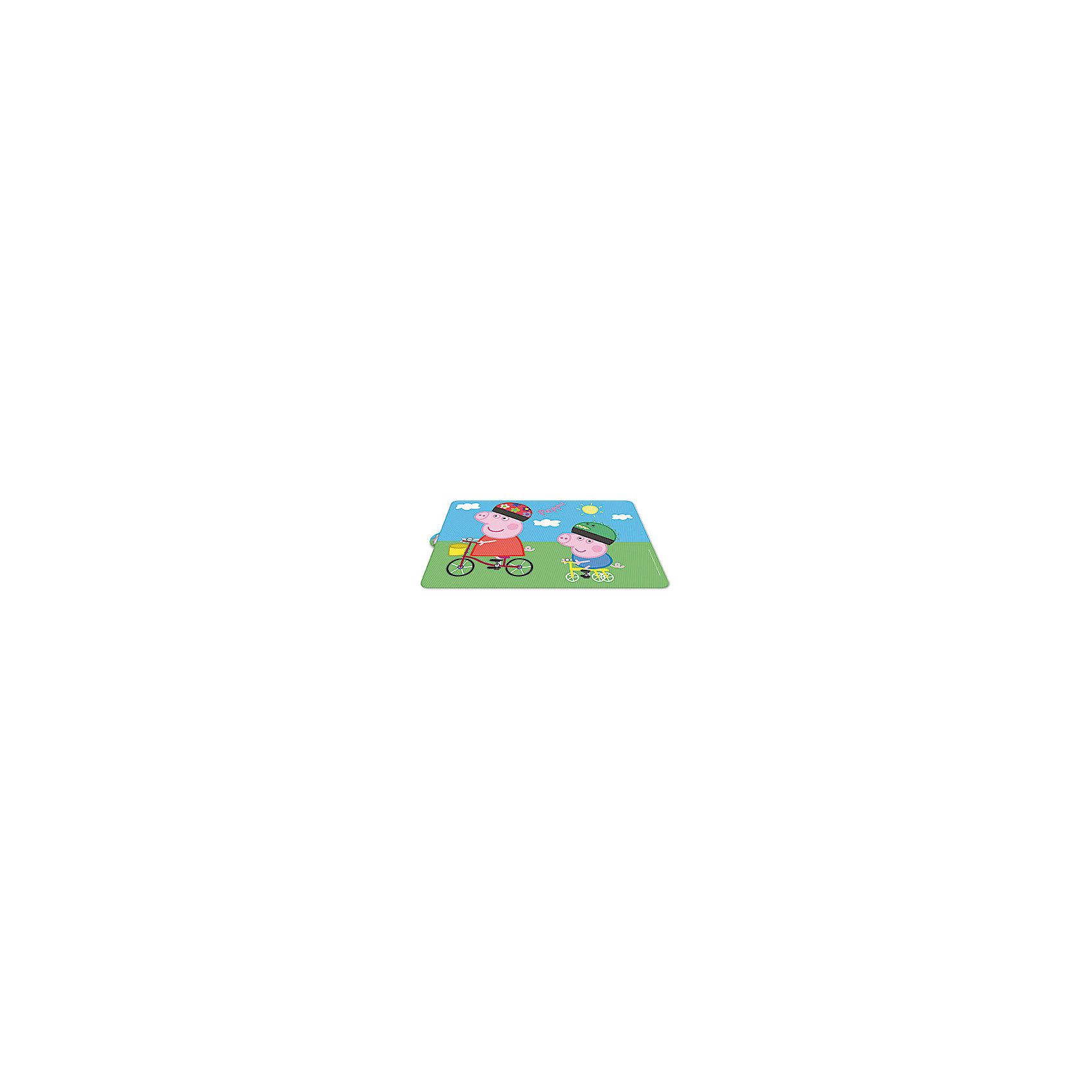 Настольная салфетка Свинка Пеппа 43*29,5 смНарядная салфетка под посуду в виде коврика с ярким принтом, на которой изображены свинка Пеппе и ее братик Джордж станет великолепным  дополнением к украшению детского стола.   С такой салфеткой Ваш стол будет украшен оригинальной подставкой и защищен от воздействия высоких температур и повреждений, а оригинальные рисунки поднимут аппетит и настроение Вам и Вашему ребенку!   <br><br>Дополнительная информация: <br><br>- удобная подвеска-петелька<br>- размер салфетки: 43*29,5 см.<br>- принт со Свинкой Пеппой и Джорджем<br><br>      Настольную салфетку Свинка Пеппа 43*29,5 см.  можно купить в нашем интернет-магазине.<br><br>Ширина мм: 430<br>Глубина мм: 295<br>Высота мм: 0<br>Вес г: 52<br>Возраст от месяцев: 36<br>Возраст до месяцев: 84<br>Пол: Унисекс<br>Возраст: Детский<br>SKU: 4536192