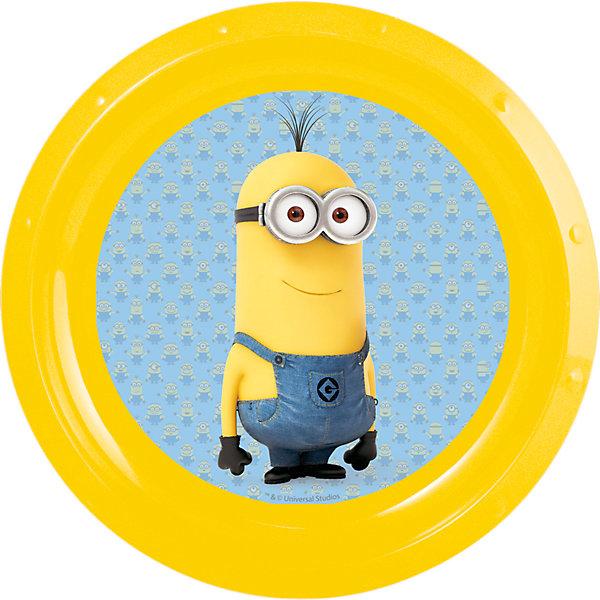Тарелка Миньоны, диаметр 21,5 смМиньоны<br>Яркая пластиковая тарелка с изображением симпатичных героев популярного мультфильма «Гадкий Я » миньонами, отличается высоким качеством пластика, безопасна для здоровья ребенка. <br><br>Дополнительная информация:<br><br>- размер изделия -21.5*21.5*1.9 см.<br><br>Тарелку  Миньоны , диаметром 21,5 см можно купить в нашем интернет-магазине.<br>Ширина мм: 215; Глубина мм: 215; Высота мм: 19; Вес г: 43; Возраст от месяцев: 36; Возраст до месяцев: 108; Пол: Унисекс; Возраст: Детский; SKU: 4536199;