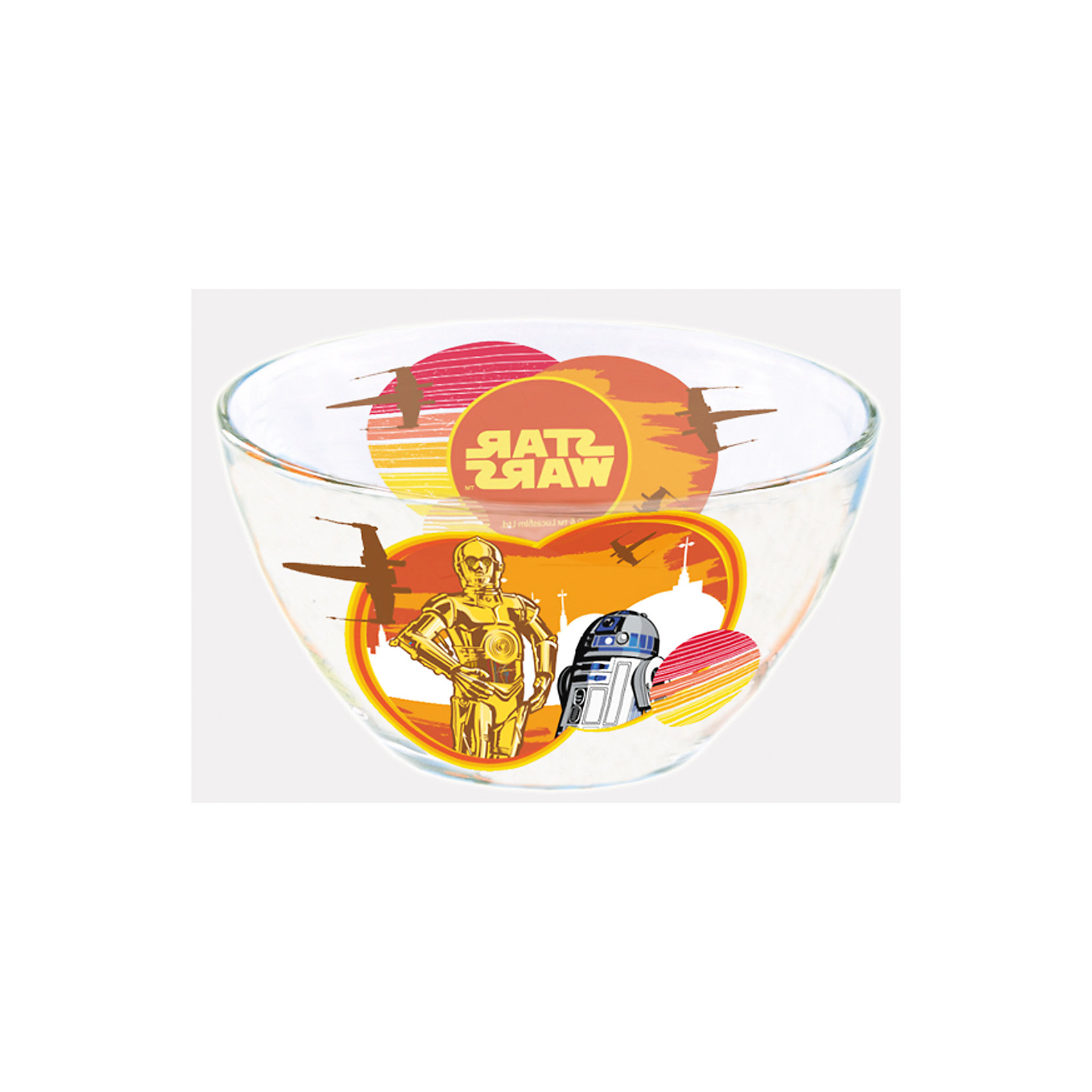 Салатник Роботы (стекло, диаметр 13 см), Звездные войныСалатник Роботы (стекло, диаметр 13 см), Звездные войны – это отличный подарок для фаната вселенной Star Wars.<br>Стеклянный салатник Роботы, оформленный ярким красочным рисунком  с изображением дроидов R2-D2 и C-3PO героев киносаги «Звездные войны» и надписью «Star Wars», идеально подойдет для повседневного использования. Салатник изготовлен из безопасного качественного материала.<br><br>Дополнительная информация:<br><br>- Диаметр: 13 см.<br>- Глубина: 7 см.<br>- Цвет рисунка: оранжевый<br>- Материал: стекло<br><br>Салатник Роботы (стекло, диаметр 13 см), Звездные войны можно купить в нашем интернет-магазине.<br><br>Ширина мм: 130<br>Глубина мм: 130<br>Высота мм: 70<br>Вес г: 280<br>Возраст от месяцев: 36<br>Возраст до месяцев: 144<br>Пол: Унисекс<br>Возраст: Детский<br>SKU: 4536262