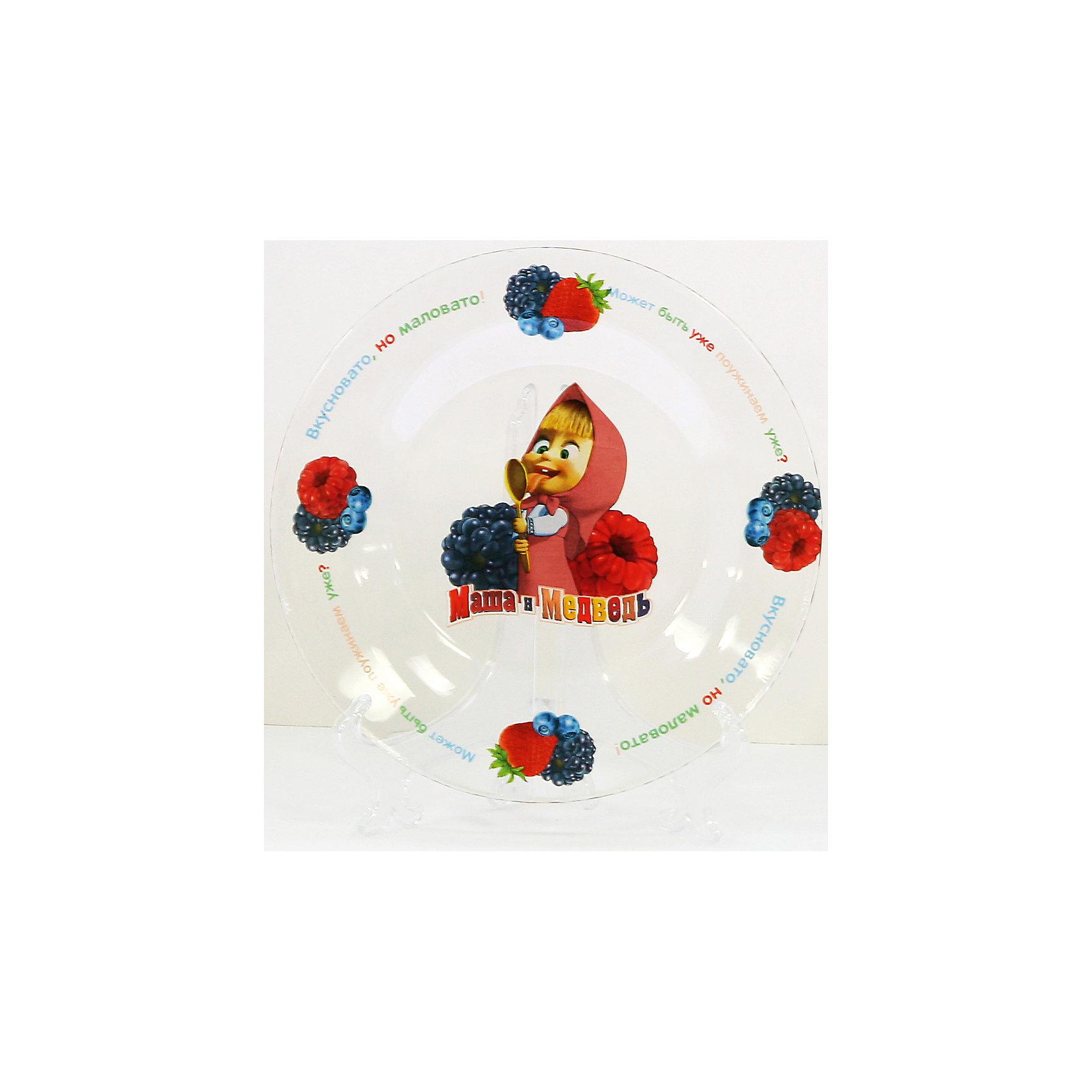 Тарелка Лето (стекло, диаметр 19,5 см), Маша и МедведьЗавтракать, обедать, ужинать с любимыми героями - приятнее и вкуснее! Тарелка с изображениями персонажей мультфильма Маша и Медведь обязательно понравится ребенку. Изделие выполнено из ударопрочного стекла, раскрашено устойчивыми экологичными красителями безопасными для детей. Прекрасный вариант для подарка на любой праздник! <br><br>Дополнительная информация:<br><br>- Материал: стекло.<br>- Размер: d - 19,5 см. <br>- Подходит для СВЧ.<br>- Можно мыть в посудомоечной машине.<br><br>Тарелку Лето (стекло, диаметр 19,5 см), Маша и Медведь, можно купить в нашем магазине.<br><br>Ширина мм: 200<br>Глубина мм: 200<br>Высота мм: 20<br>Вес г: 250<br>Возраст от месяцев: 36<br>Возраст до месяцев: 108<br>Пол: Унисекс<br>Возраст: Детский<br>SKU: 4536270