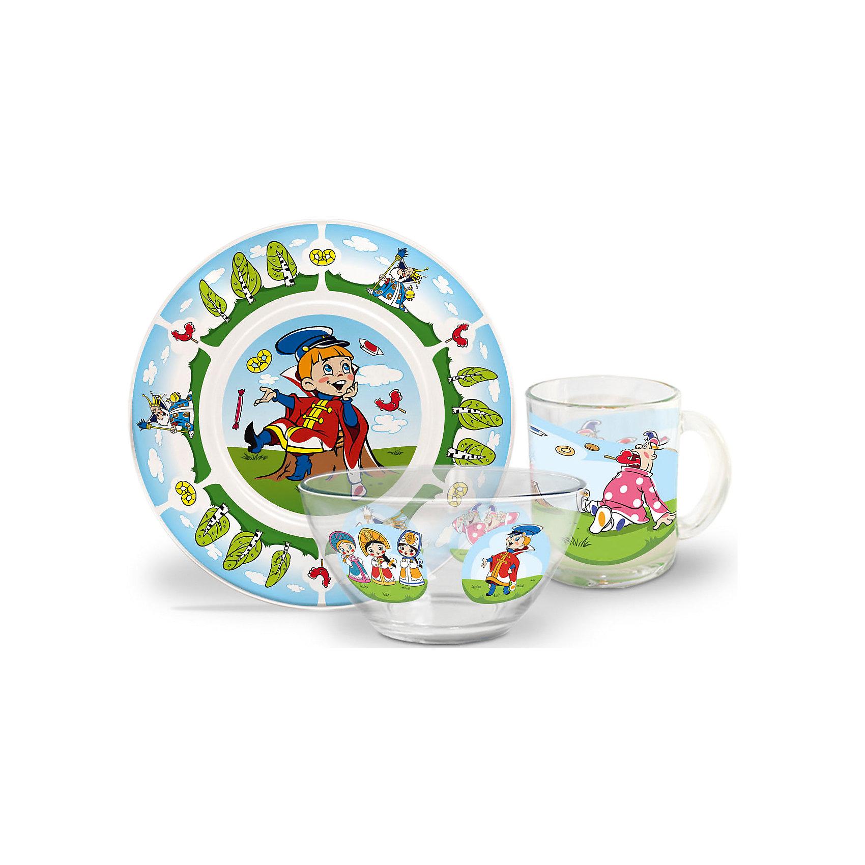 Набор посуды Вовка в тридевятом царстве (стекло, 3 предмета)Советские мультфильмы<br>Завтракать, обедать, ужинать с любимыми героями - приятнее и вкуснее! Набор посуды с изображением культовых и всем известных героев студии Союзмультфильм обязательно понравится детям! Набор состоит из кружки, плоской тарелки и салатника. Кружка среднего размера идеально подойдет для детских рук. Посуда выполнена из ударопрочного стекла, раскрашена стойкими гипоаллергенными красителями безопасными для детей. Яркий набор посуды станет прекрасным подарком на любой праздник. <br><br>Дополнительная информация:<br><br>- Материал: стекло.<br>- Комплектация, 3 предмета: кружка, салатник, плоская тарелка. <br>- Размер: салатник, d - 13 см, тарелка, d - 20 см.<br>- Объем кружки: 200 мл.<br>- Размер упаковки: 20х20х10 см.<br>- Можно мыть в посудомоечной машине.<br><br>Набор посуды Вовка в тридевятом царстве (стекло, 3 предмета), можно купить в нашем магазине.<br><br>Ширина мм: 200<br>Глубина мм: 200<br>Высота мм: 95<br>Вес г: 930<br>Возраст от месяцев: 36<br>Возраст до месяцев: 108<br>Пол: Унисекс<br>Возраст: Детский<br>SKU: 4536279