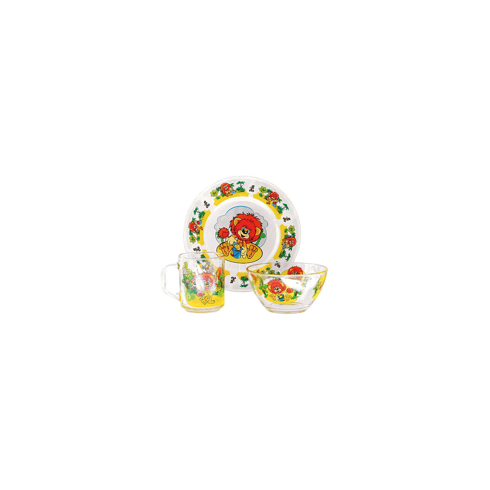 Набор посуды Львенок (стекло, 3 предмета)Советские мультфильмы<br>Завтракать, обедать, ужинать с любимыми героями - приятнее и вкуснее! Набор посуды с изображением культовых и всем известных персонажей студии Союзмультфильм обязательно понравится детям! Набор состоит из кружки, плоской тарелки и салатника. Кружка среднего размера идеально подойдет для детских рук. Посуда выполнена из ударопрочного стекла, раскрашена стойкими гипоаллергенными красителями безопасными для детей. Яркий набор посуды станет прекрасным подарком на любой праздник. <br><br>Дополнительная информация:<br><br>- Материал: стекло.<br>- Комплектация, 3 предмета: кружка, салатник, плоская тарелка. <br>- Размер: салатник, d - 13 см, тарелка, d - 20 см.<br>- Объем кружки: 200 мл.<br>- Размер упаковки: 20х20х10 см.<br>- Можно мыть в посудомоечной машине.<br><br>Набор посуды Львенок (стекло, 3 предмета), можно купить в нашем магазине.<br><br>Ширина мм: 200<br>Глубина мм: 200<br>Высота мм: 95<br>Вес г: 930<br>Возраст от месяцев: 36<br>Возраст до месяцев: 108<br>Пол: Унисекс<br>Возраст: Детский<br>SKU: 4536281