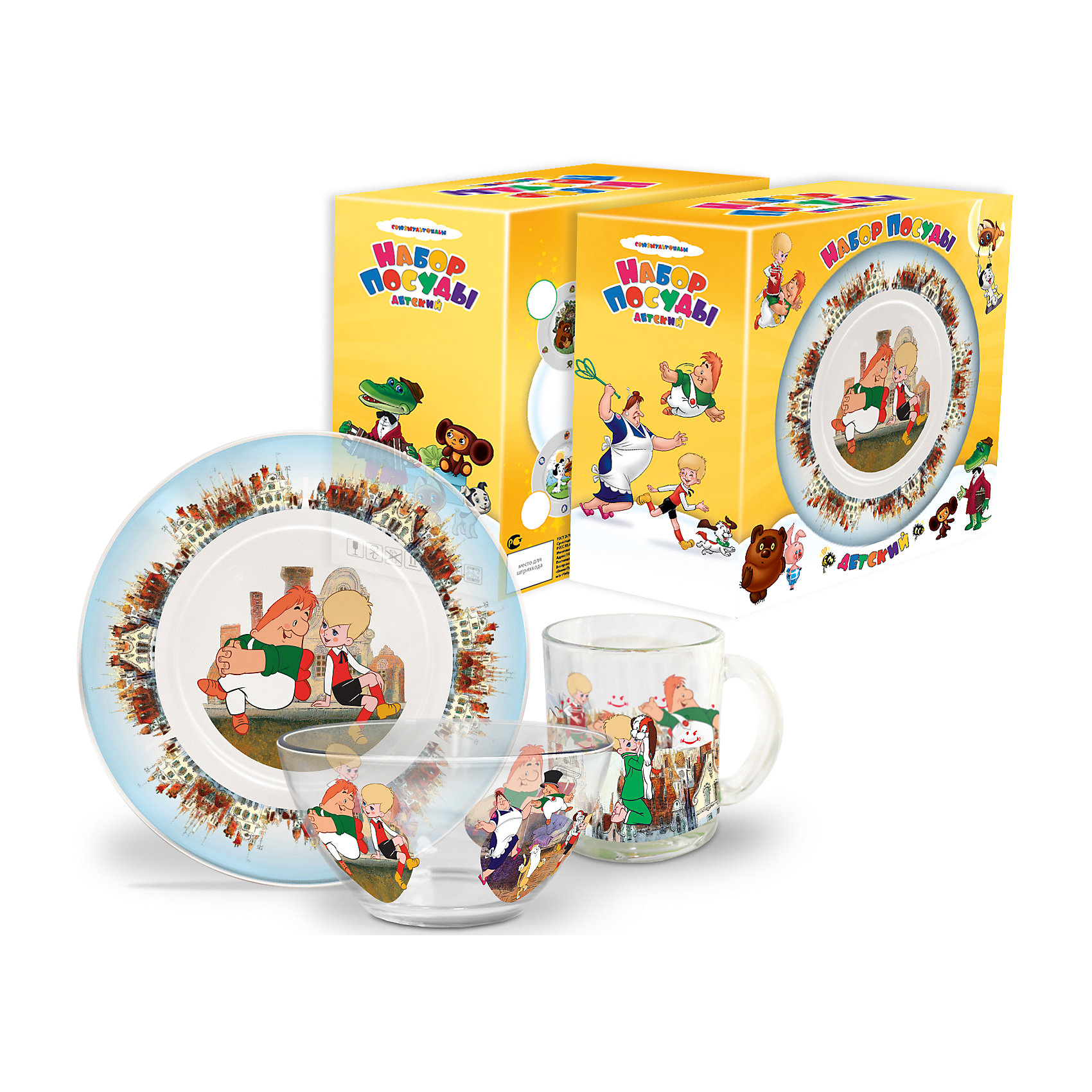 Набор посуды Малыш и Карлсон (стекло, 3 предмета)Завтракать, обедать, ужинать с любимыми героями - приятнее и вкуснее! Набор посуды с изображением культовых и всем известных персонажей студии Союзмультфильм обязательно понравится детям! Набор состоит из кружки, плоской тарелки и салатника. Кружка среднего размера идеально подойдет для детских рук. Посуда выполнена из ударопрочного стекла, раскрашена стойкими гипоаллергенными красителями безопасными для детей. Яркий набор посуды станет прекрасным подарком на любой праздник. <br><br>Дополнительная информация:<br><br>- Материал: стекло.<br>- Комплектация, 3 предмета: кружка, салатник, плоская тарелка. <br>- Размер: салатник, d - 13 см, тарелка, d - 20 см.<br>- Объем кружки: 200 мл.<br>- Размер упаковки: 20х20х10 см.<br>- Можно мыть в посудомоечной машине.<br><br>Набор посуды Малыш и Карлсон (стекло, 3 предмета), можно купить в нашем магазине.<br><br>Ширина мм: 200<br>Глубина мм: 200<br>Высота мм: 95<br>Вес г: 930<br>Возраст от месяцев: 36<br>Возраст до месяцев: 108<br>Пол: Унисекс<br>Возраст: Детский<br>SKU: 4536282