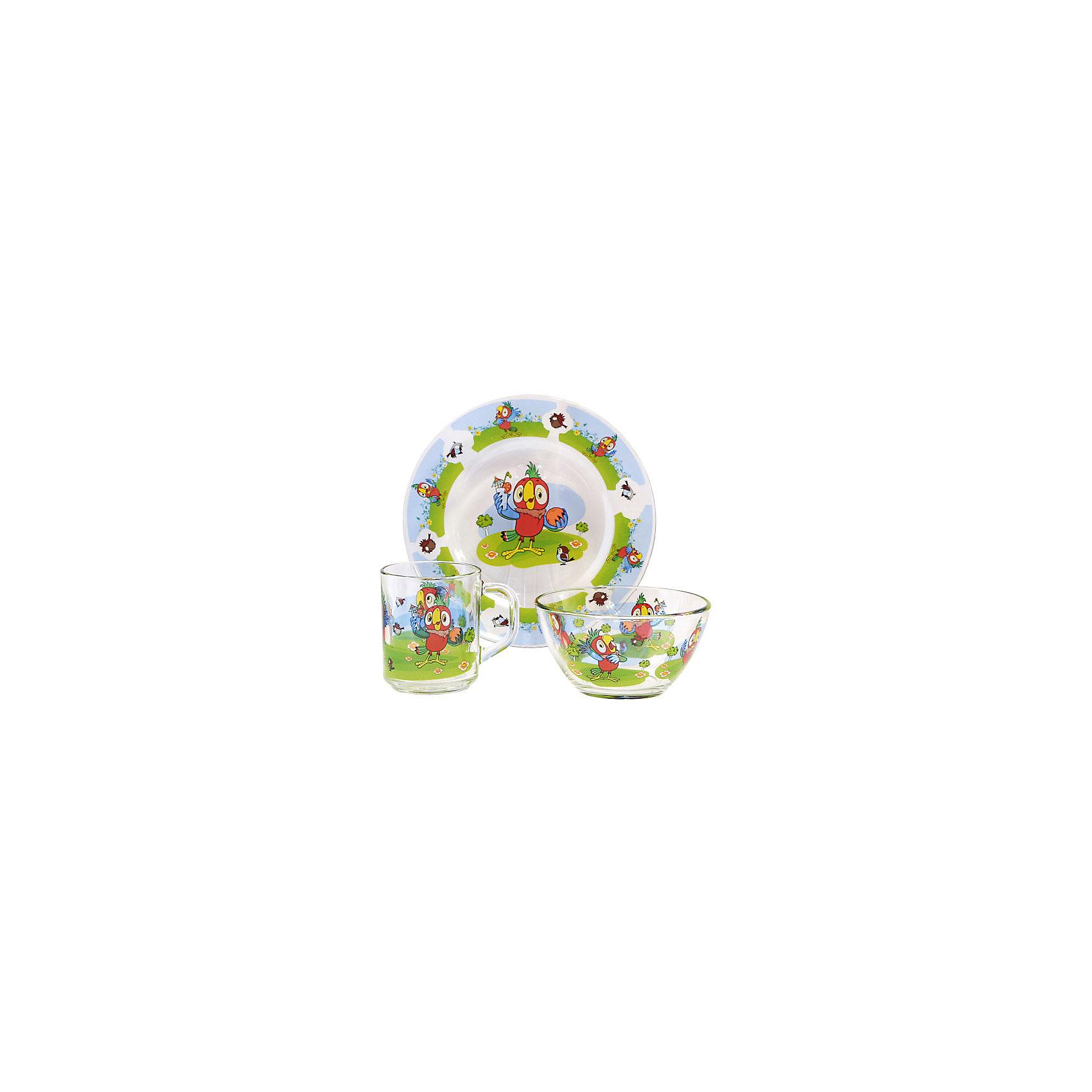 Набор посуды Попугай Кеша (стекло, 3 предмета)Завтракать, обедать, ужинать с любимыми героями - приятнее и вкуснее! Набор посуды с изображением культовых и всем известных персонажей студии Союзмультфильм обязательно понравится детям! Набор состоит из кружки, плоской тарелки и салатника. Кружка среднего размера идеально подойдет для детских рук. Посуда выполнена из ударопрочного стекла, раскрашена стойкими гипоаллергенными красителями безопасными для детей. Яркий набор посуды станет прекрасным подарком на любой праздник. <br><br>Дополнительная информация:<br><br>- Материал: стекло.<br>- Комплектация, 3 предмета: кружка, салатник, плоская тарелка. <br>- Размер: салатник, d - 13 см, тарелка, d - 20 см.<br>- Объем кружки: 200 мл.<br>- Размер упаковки: 20х20х10 см.<br>- Можно мыть в посудомоечной машине.<br><br>Набор посуды Попугай Кеша (стекло, 3 предмета), можно купить в нашем магазине.<br><br>Ширина мм: 200<br>Глубина мм: 200<br>Высота мм: 95<br>Вес г: 930<br>Возраст от месяцев: 36<br>Возраст до месяцев: 108<br>Пол: Унисекс<br>Возраст: Детский<br>SKU: 4536285