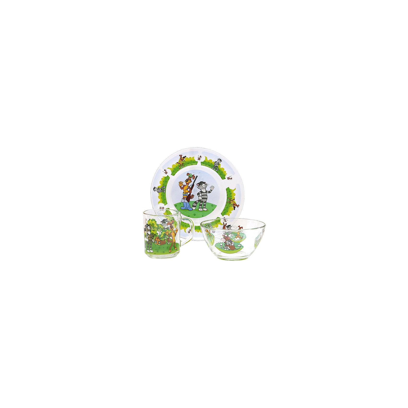 Набор посуды Простоквашино (стекло, 3 предмета)Завтракать, обедать, ужинать с любимыми героями - приятнее и вкуснее! Набор посуды с изображением культовых и всем известных персонажей студии Союзмультфильм обязательно понравится детям! Набор состоит из кружки, плоской тарелки и салатника. Кружка среднего размера идеально подойдет для детских рук. Посуда выполнена из ударопрочного стекла, раскрашена стойкими гипоаллергенными красителями безопасными для детей. Яркий набор посуды станет прекрасным подарком на любой праздник. <br><br>Дополнительная информация:<br><br>- Материал: стекло.<br>- Комплектация, 3 предмета: кружка, салатник, плоская тарелка. <br>- Размер: салатник, d - 13 см, тарелка, d - 20 см.<br>- Объем кружки: 200 мл.<br>- Размер упаковки: 20х20х10 см.<br>- Можно мыть в посудомоечной машине.<br><br>Набор посуды Простоквашино (стекло, 3 предмета), можно купить в нашем магазине.<br><br>Ширина мм: 200<br>Глубина мм: 200<br>Высота мм: 95<br>Вес г: 930<br>Возраст от месяцев: 36<br>Возраст до месяцев: 108<br>Пол: Унисекс<br>Возраст: Детский<br>SKU: 4536286