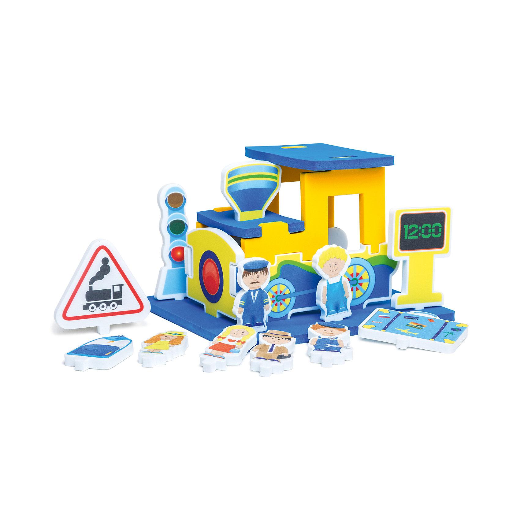 Мягкий конструктор Паровозик, PicnMixМягкий конструктор идеально подходит даже для самых маленьких строителей! Яркие детали и разнообразие форм привлекут внимание малышей и раскроют невероятные возможности для творчества. Конструктор подходит как для игр в комнате, так и в ванной. Все элементы выполнены из высококачественных материалов, с применением экологичных красителей, не имеют острых углов, абсолютно безопасны для детей. Мягкий конструктор - прекрасный подарок на любой праздник, он надолго увлечет ребенка, помогая ему развить логику, моторику рук, цветовосприятие и фантазию.<br>В комплект входит инструкция-методическое пособие со сценарием проведения игры, при помощи взрослого ребенок собирает из нескольких деталей конструкцию паровоза и устанавливает на подставке те фигурки, которые соответствуют игровому сюжету. <br><br>Дополнительная информация:<br><br>- Материал: ЭВА.<br>- Размер упаковки: 32х6х31 см. <br>- Не имеет острых углов.<br>- Можно использовать в воде. <br><br>Мягкий конструктор Паровозик, Pic`n Mix, можно купить в нашем магазине.<br><br>Ширина мм: 210<br>Глубина мм: 80<br>Высота мм: 270<br>Вес г: 300<br>Возраст от месяцев: 18<br>Возраст до месяцев: 36<br>Пол: Унисекс<br>Возраст: Детский<br>SKU: 4536632