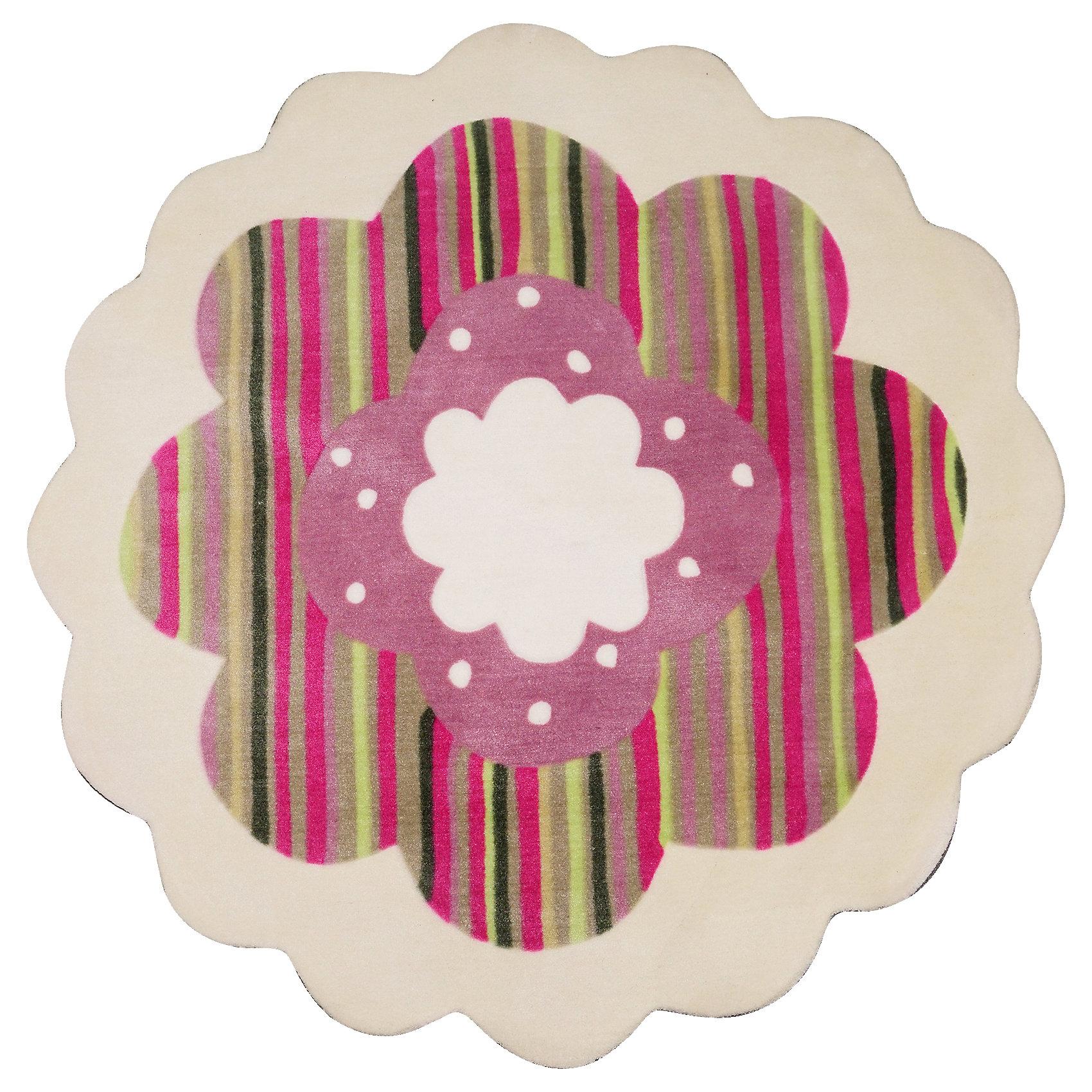 Ковер Ромашка, диаметр 1,2 мКовер, выполненный в виде розового в полоску цветка, прекрасно впишется в интерьер детской и приведет в восторг любого ребенка. Ковер изготовлен из акриловой пряжи, он очень мягкий на ощупь, гипоаллергенный, легко чистится, мало весит, прекрасно сохраняет тепло. Края изделия аккуратно и надежно обработаны. Подложка выполнена из текстильного материала - полихлопка (хлопок и полиэстер в соотношении 80/20). Полихлопок обладает высокой степенью износостойкости и в то же время достаточно мягок, чтобы не наносить повреждения на ламинированные и паркетные полы.<br><br>Дополнительная информация:<br><br>- Материал: акрил, полихлопок. <br>- Размер: d - 1,2.<br>- Цвет: розовый, белый.<br>- Отличная теплопроводность. <br>- Антистатичность. <br>- Цветостойкость: долго сохраняет яркость цвета. <br><br>Ковер Ромашка, диаметр 1,2 м, можно купить в нашем магазине.<br><br>Ширина мм: 1200<br>Глубина мм: 120<br>Высота мм: 120<br>Вес г: 2680<br>Возраст от месяцев: -2147483648<br>Возраст до месяцев: 2147483647<br>Пол: Женский<br>Возраст: Детский<br>SKU: 4537010