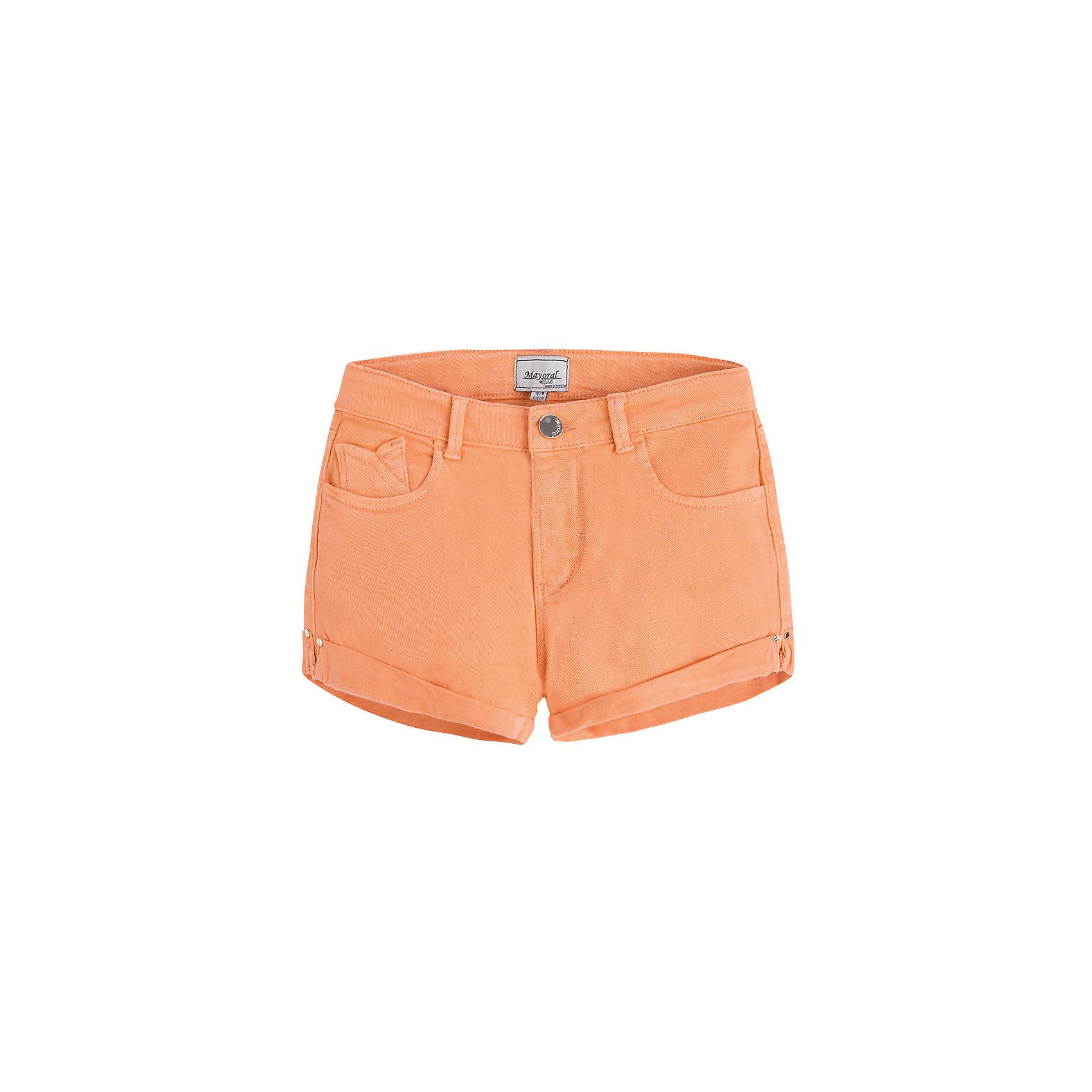Шорты для девочки MayoralШорты для девочки от известной испанской марки Mayoral - прекрасный вариант для летнего гардероба юной модницы.<br><br>Дополнительная информация:<br><br>- Приятная к телу ткань.<br>- Застегиваются на молнию и пуговицу.<br>- 5 карманов.<br>- С отворотами. <br>- Регулируются на талии. <br>- Состав: 98% хлопок, 2% эластан.<br><br>Шорты для девочки Mayoral (Майорал) можно купить в нашем магазине.<br><br>Ширина мм: 191<br>Глубина мм: 10<br>Высота мм: 175<br>Вес г: 273<br>Цвет: оранжевый<br>Возраст от месяцев: 144<br>Возраст до месяцев: 156<br>Пол: Женский<br>Возраст: Детский<br>Размер: 158,152,140,128,170,164<br>SKU: 4537516