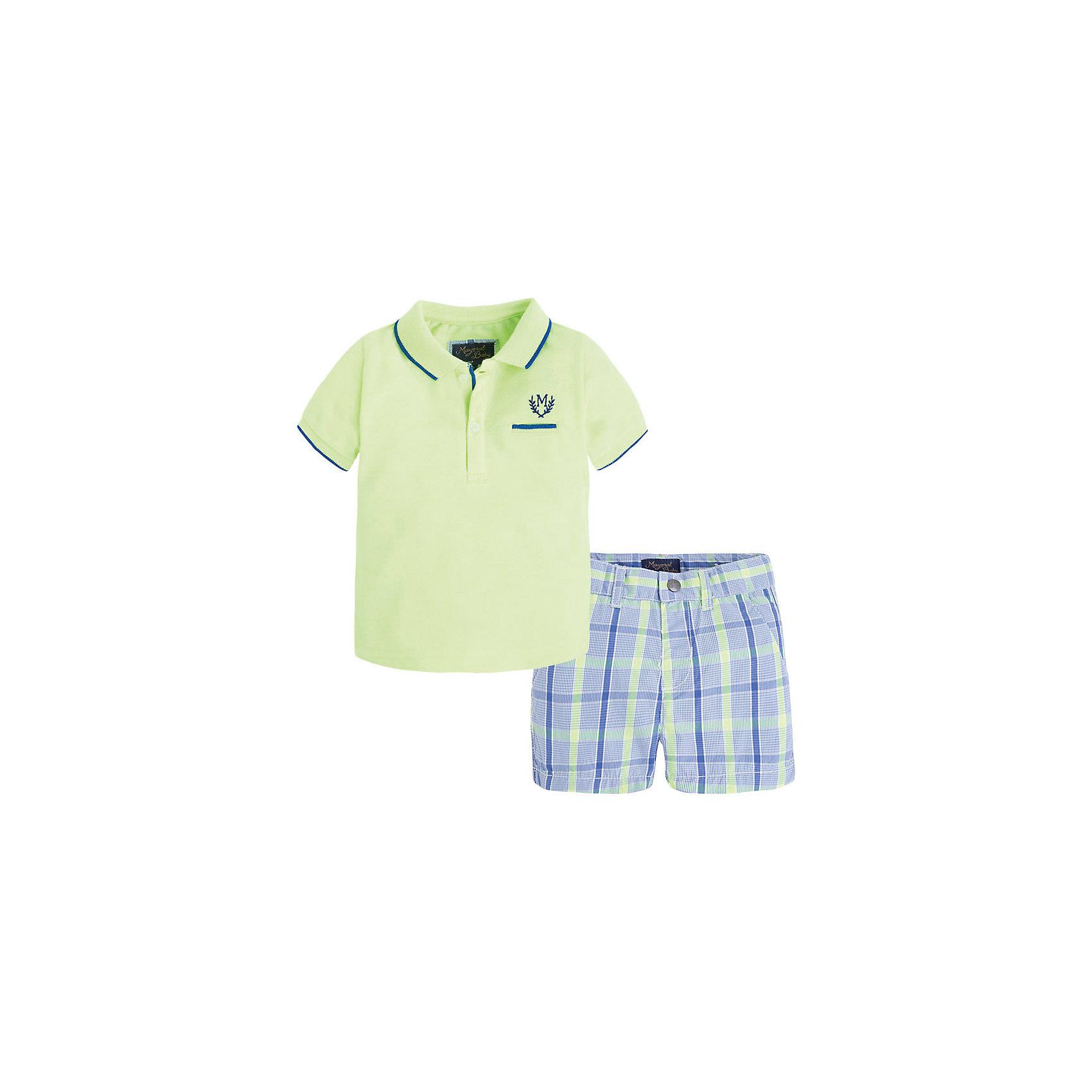 Комплект для мальчика: футболка и шорты MayoralКомплект для мальчика: футболка и шорты для мальчика от известной испанской марки Mayoral - прекрасный вариант для теплой погоды.<br><br>Дополнительная информация:<br><br>- Мягкая трикотажная ткань<br>- Футболка-поло с контрастной полосой на воротнике и рукавах.<br>- Вышивка и декоративный карман на груди. <br>- Шорты с клетчатым принтом.<br>- Застегиваются на кнопку.<br>- Регулируемая талия. <br>- Состав: 100% хлопок.<br><br>Комплект для мальчика: футболку и шорты Mayoral (Майорал) можно купить в нашем магазине.<br><br>Ширина мм: 191<br>Глубина мм: 10<br>Высота мм: 175<br>Вес г: 273<br>Цвет: зеленый<br>Возраст от месяцев: 6<br>Возраст до месяцев: 9<br>Пол: Мужской<br>Возраст: Детский<br>Размер: 74,92,80,86<br>SKU: 4537740