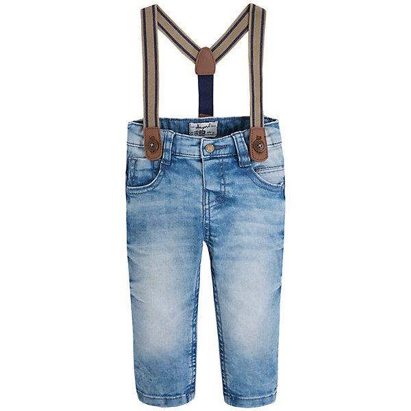 Джинсы для мальчика MayoralДжинсовая одежда<br>Брюки для мальчика от известной испанской марки Mayoral - практичный и стильный вариант на каждый день. <br><br>Дополнительная информация:<br><br>- Стильный дизайн.<br>- Подтяжки в комплекте (снимаются).<br>- Застегиваются на пуговицу. <br>- 4 кармана (2 спереди, 2 сзади).<br>- Состав: 98% хлопок, 2% эластан.<br><br>Брюки для мальчика Mayoral (Майорал) можно купить в нашем магазине.<br><br>Ширина мм: 215<br>Глубина мм: 88<br>Высота мм: 191<br>Вес г: 336<br>Цвет: синий<br>Возраст от месяцев: 6<br>Возраст до месяцев: 9<br>Пол: Мужской<br>Возраст: Детский<br>Размер: 74,80,86,92<br>SKU: 4537860