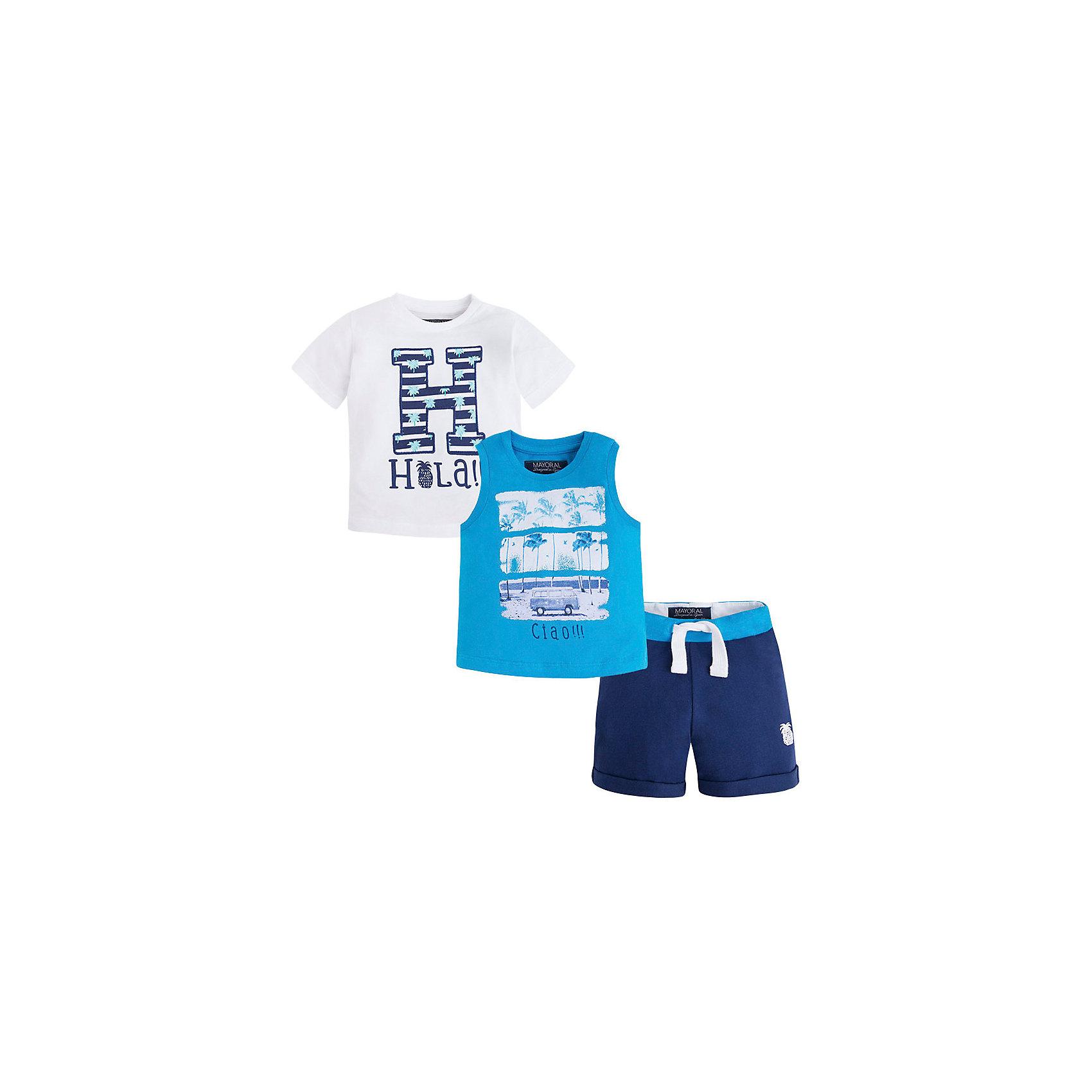Комплект для мальчика: футболка, майка и шорты MayoralКомплект для мальчика: футболка, майка и шорты для мальчика от известной испанской марки Mayoral - прекрасный вариант для жаркой погоды.<br><br>Дополнительная информация:<br><br>- Мягкая трикотажная ткань<br>- Округлый вырез горловины.<br>- Горловина и пройма в рубчик.<br>- Майка и футболка декорированы ярким принтом и аппликацией.<br>- Шорты прямого кроя, с отворотами.<br>- На эластичном поясе с кулиской.<br>- Шорты декорированы небольшой вышивкой. <br>- Состав: 100 % хлопок.<br><br>Комплект для мальчика: футболку, майку и шорты Mayoral (Майорал) можно купить в нашем магазине.<br><br>Ширина мм: 199<br>Глубина мм: 10<br>Высота мм: 161<br>Вес г: 151<br>Цвет: белый<br>Возраст от месяцев: 9<br>Возраст до месяцев: 12<br>Пол: Мужской<br>Возраст: Детский<br>Размер: 80,92,86<br>SKU: 4537875