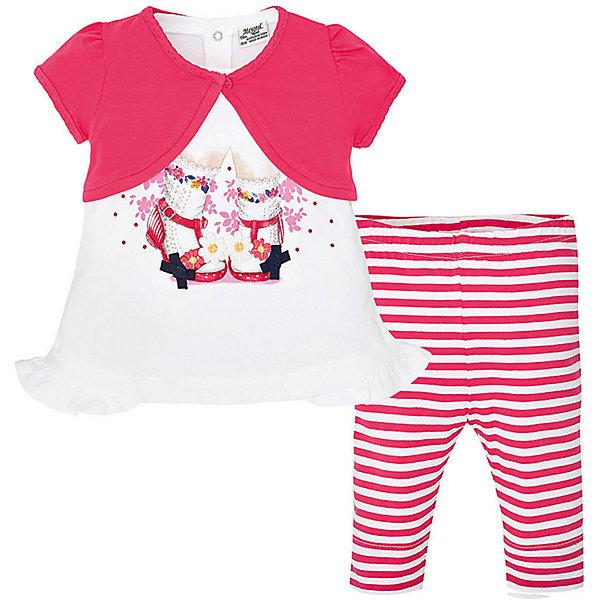 Комплект для девочки: футболка и леггинсы MayoralКомплекты<br>Комплект для девочки: футболка, кардиган и леггинсы от известной испанской марки Mayoral - прекрасный вариант на любой случай.<br><br>Дополнительная информация:<br><br>- Яркий, стильный комплект. <br>- Мягкая трикотажная ткань. <br>- Укороченный кардиган-болеро.<br>- Кардиган застегивается на пуговицу.<br>- Футболка застегивается на кнопки на спине. <br>- Округлый вырез горловины.<br>- Прямой крой. <br>- Футболка с ярким принтом и оборками по низу.<br>- Леггинсы в контрастную полоску. <br>- На эластичном поясе с резинкой. <br>- Состав: 94% Хлопок 6% Эластан.<br><br>Комплект для девочки: футболку, кардиган и леггинсы Mayoral (Майорал) можно купить в нашем магазине.<br><br>Ширина мм: 199<br>Глубина мм: 10<br>Высота мм: 161<br>Вес г: 151<br>Цвет: красный<br>Возраст от месяцев: 6<br>Возраст до месяцев: 9<br>Пол: Женский<br>Возраст: Детский<br>Размер: 74,80,86,92<br>SKU: 4537933