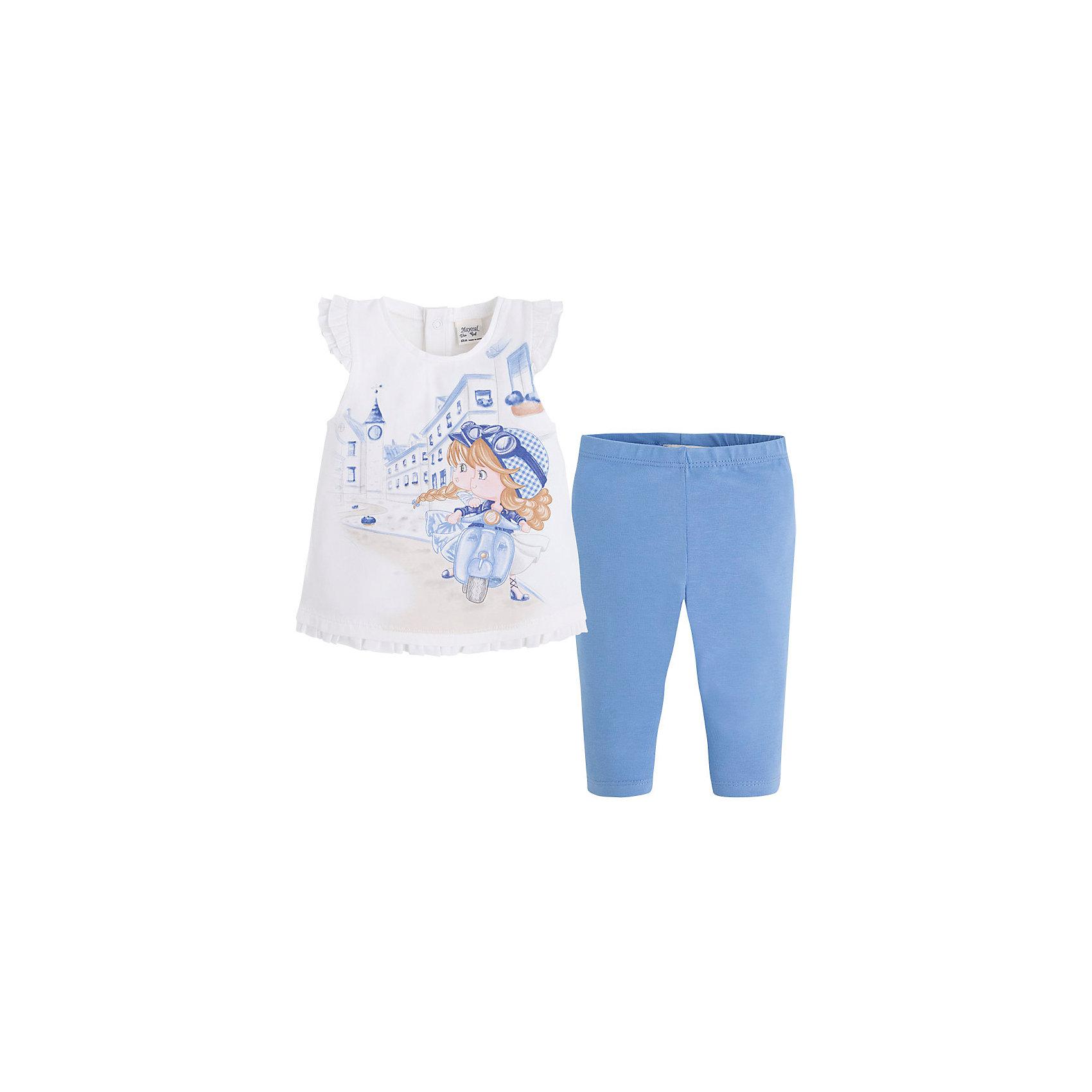 Комплект для девочки: футболка и леггинсы MayoralКомплект: леггинсы и футболка для девочки от испанской марки Mayoral приведет в восторг юных модниц.<br><br>Дополнительная информация:<br><br>- Мягкая, приятная на ощупь ткань.<br>- Крой футболки: трапеция.<br>- Округлый вырез горловины.<br>- Оригинальный принт. <br>- Футболка застегивается на кнопки на спине. <br>- Оборки по низу. <br>- Леггинсы на эластичном поясе с резинкой.<br>- Отлично смотрятся на фигуре.<br>- Состав: 92% хлопок, 8% эластан. <br><br>Комплект: леггинсы и футболку для девочки Mayoral (Майорал) можно купить в нашем магазине.<br><br>Ширина мм: 199<br>Глубина мм: 10<br>Высота мм: 161<br>Вес г: 151<br>Цвет: синий<br>Возраст от месяцев: 6<br>Возраст до месяцев: 9<br>Пол: Женский<br>Возраст: Детский<br>Размер: 74,92,80,86<br>SKU: 4537943