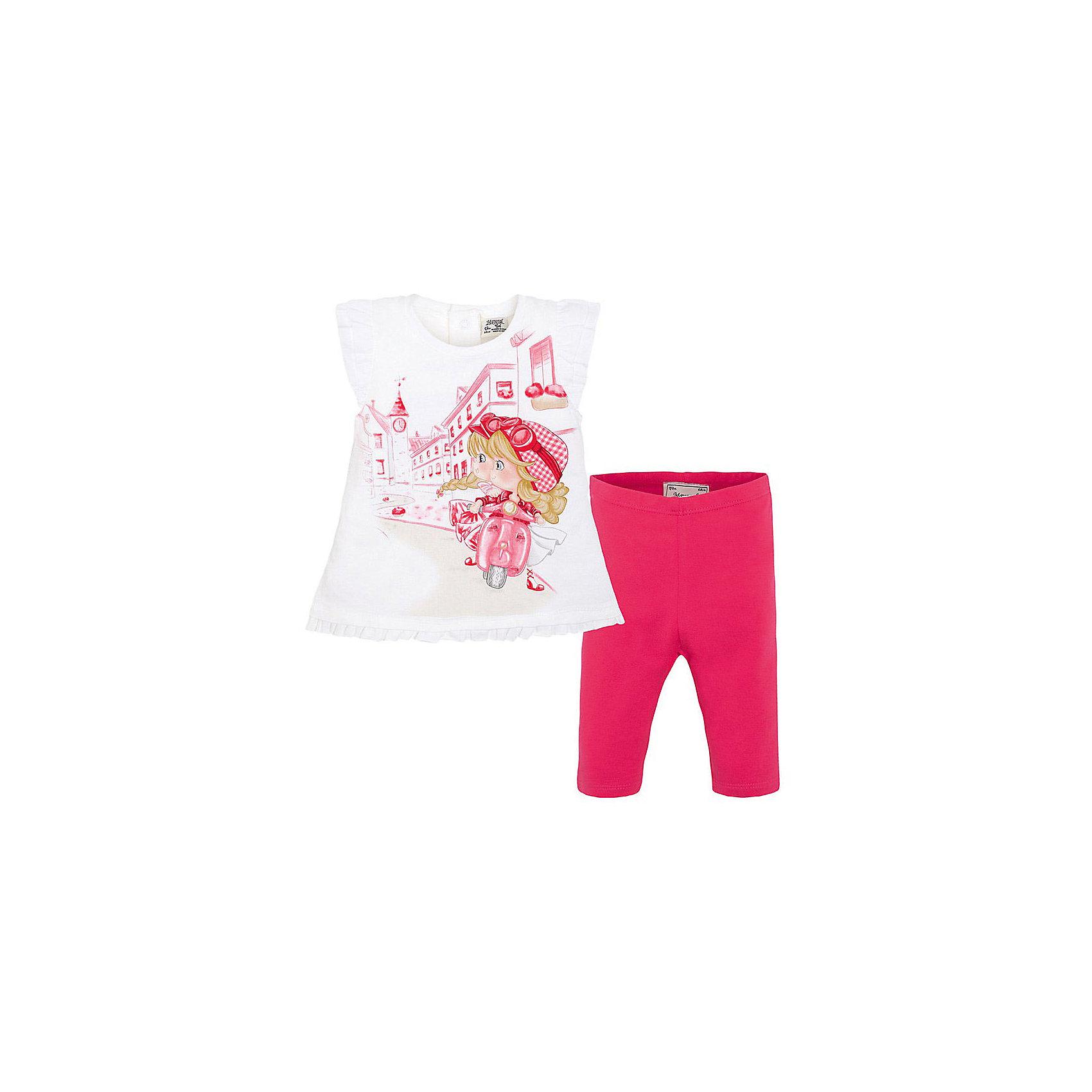 Комплект для девочки: футболка и леггинсы MayoralКомплект: леггинсы и футболка для девочки от испанской марки Mayoral приведет в восторг юных модниц.<br><br>Дополнительная информация:<br><br>- Мягкая, приятная на ощупь ткань.<br>- Крой футболки: трапеция.<br>- Округлый вырез горловины.<br>- Оригинальный принт. <br>- Футболка застегивается на кнопки на спине. <br>- Оборки по низу. <br>- Леггинсы на эластичном поясе с резинкой.<br>- Отлично смотрятся на фигуре.<br>- Состав: 92% хлопок, 8% эластан. <br><br>Комплект: леггинсы и футболку для девочки Mayoral (Майорал) можно купить в нашем магазине.<br><br>Ширина мм: 199<br>Глубина мм: 10<br>Высота мм: 161<br>Вес г: 151<br>Цвет: красный<br>Возраст от месяцев: 6<br>Возраст до месяцев: 9<br>Пол: Женский<br>Возраст: Детский<br>Размер: 74,92,86,80<br>SKU: 4537948