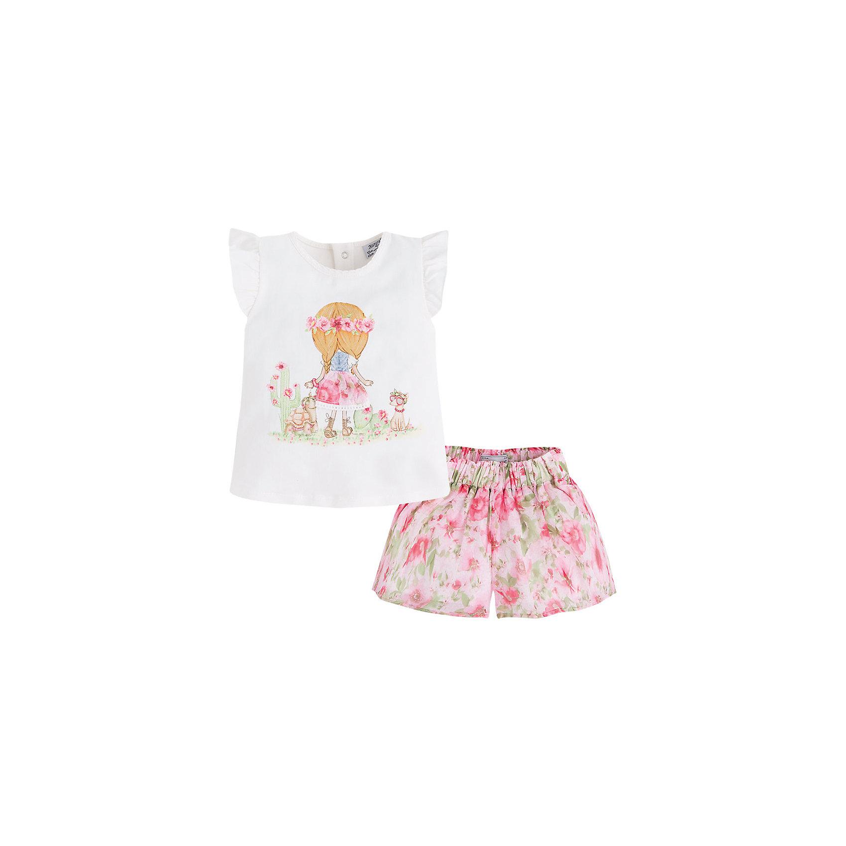 Комплект для девочки: футболка и юбка MayoralКомплект для девочки: футболка и шорты от известной испанской марки Mayoral - прекрасный вариант для жаркой погоды.<br><br>Дополнительная информация:<br><br>- Мягкая трикотажная ткань<br>- Округлый вырез горловины.<br>- Пройма декорирована оборками.<br>- Яркий принт. <br>- Футболка застегивается на кнопки на спине.<br>- Шорты на поясе с резинкой.<br>- Декорированы цветочным принтом.<br>- Состав: 98 % хлопок, 2 % эластан. <br><br>Комплект для девочки: футболку и шорты Mayoral (Майорал) можно купить в нашем магазине.<br><br>Ширина мм: 207<br>Глубина мм: 10<br>Высота мм: 189<br>Вес г: 183<br>Цвет: розовый<br>Возраст от месяцев: 9<br>Возраст до месяцев: 12<br>Пол: Женский<br>Возраст: Детский<br>Размер: 80,86,74,92<br>SKU: 4537986