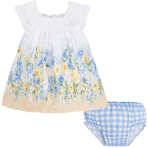 Комплект для девочки: платье и трусы MayoralКомплекты<br>Платье для девочки от известной испанской марки Mayoral - прекрасный вариант для вашей юной модницы!<br><br>Дополнительная информация:<br><br>- Платье, трусики.<br>- Мягкая, приятная к телу ткань.<br>- Платье на широких бретелях.<br>- Застегивается на кнопки на спине. <br>- Горловина декорирована кружевом.<br>- Нежный цветочный принт.<br>- Трусики на резинке.<br>- С клетчатым принтом. <br>- Состав: верх - 100% хлопок; подкладка - 50% хлопок, 50% полиэстер. <br><br>Платье Mayoral (Майорал) можно купить в нашем магазине.<br>Ширина мм: 236; Глубина мм: 16; Высота мм: 184; Вес г: 177; Цвет: желтый; Возраст от месяцев: 18; Возраст до месяцев: 24; Пол: Женский; Возраст: Детский; Размер: 92,80,86,74; SKU: 4538011;