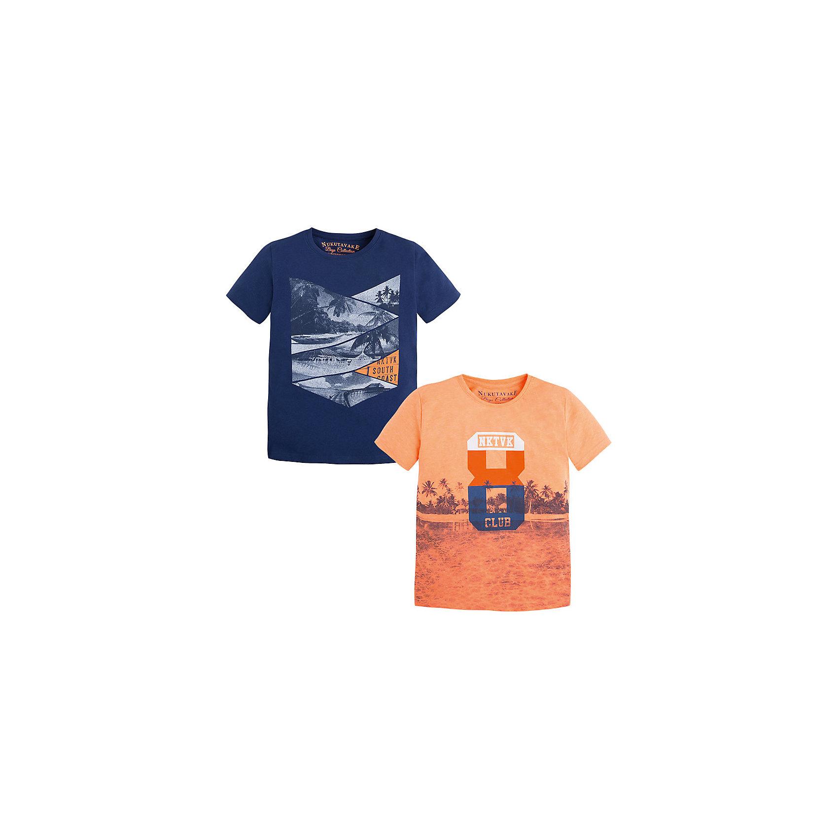 Футболка для мальчика, 2шт. MayoralКомплект из двух футболок для мальчика от известной испанской марки Mayoral - прекрасный вариант на лето. <br><br>Дополнительная информация:<br><br>- 2 футболки. <br>- Мягкая, приятная к телу ткань.<br>- Округлый вырез горловины.<br>- Прямой крой. <br>- Отделка горловины: в мелкий рубчик. <br>- Оригинальный принт. <br>- Состав: 100% хлопок.<br><br>Комплект из двух футболок для мальчика (Майорал) можно купить в нашем магазине.<br><br>Ширина мм: 199<br>Глубина мм: 10<br>Высота мм: 161<br>Вес г: 151<br>Цвет: оранжевый<br>Возраст от месяцев: 84<br>Возраст до месяцев: 96<br>Пол: Мужской<br>Возраст: Детский<br>Размер: 128,164,158,140,152<br>SKU: 4538147