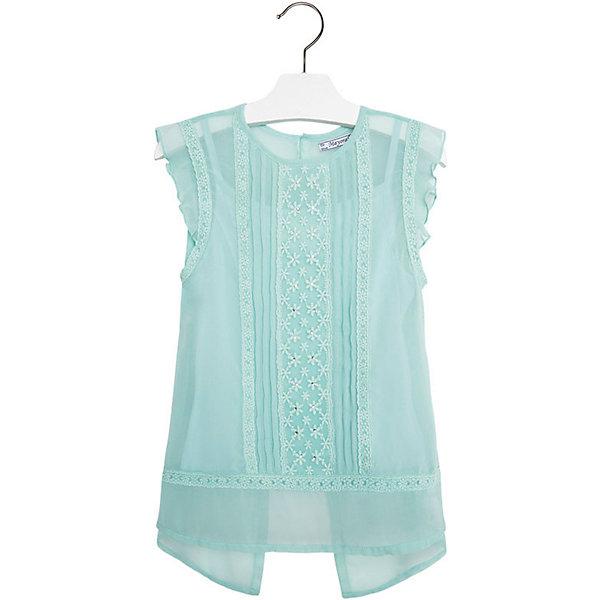 Блузка для девочки MayoralБлузки и рубашки<br>Блузка для девочки от известной испанской марки Mayoral приведет в восторг всех юных модниц. <br><br>Дополнительная информация:<br><br>- Топ на бретелях и верхняя полупрозрачная туника. <br>- Туника декорирована вышивкой и бисером.<br>- Пройма с небольшими оборками.<br>- Ассиметричный низ. <br>- Состав: 100% полиэстер.<br><br>Блузку для девочки Mayoral (Майорал) можно купить в нашем магазине.<br>Ширина мм: 186; Глубина мм: 87; Высота мм: 198; Вес г: 197; Цвет: голубой; Возраст от месяцев: 108; Возраст до месяцев: 120; Пол: Женский; Возраст: Детский; Размер: 140,152,128,158,170,164; SKU: 4538334;