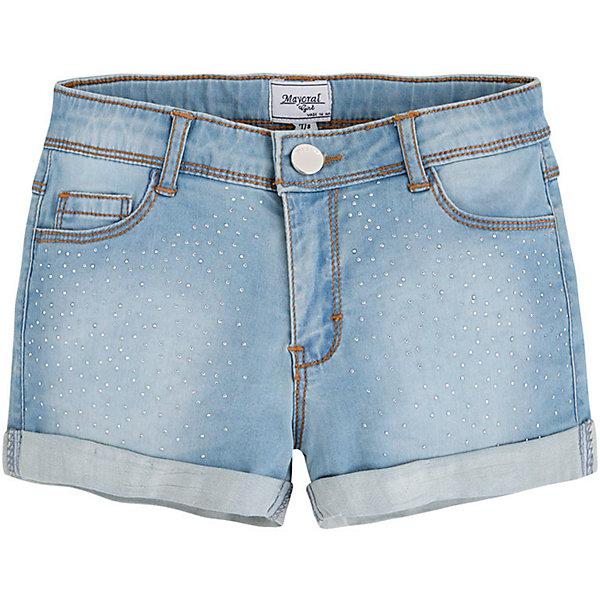 Шорты джинсовые для девочки MayoralШорты, бриджи, капри<br>Шорты для девочки от известной испанской марки Mayoral выполнены в практичной цветовой гамме, займут достойное место в летнем гардеробе ребенка.<br><br>Дополнительная информация:<br><br>- Практичная расцветка, мягкая ткань. <br>- Прямой крой брючин.<br>- Тип застежки: молния, пуговица. <br>- 4 кармана (задние, передние)<br>- Стильные отвороты.<br>- Регулировка на талии с помощью внутренней резинки. <br>- Декорированы мелкими металлическими бусинами. <br>- Состав: 98% хлопок, 2% эластан.<br><br>Шорты для девочки Mayoral (Майорал) можно купить в нашем магазине.<br><br>Ширина мм: 191<br>Глубина мм: 10<br>Высота мм: 175<br>Вес г: 273<br>Цвет: синий<br>Возраст от месяцев: 108<br>Возраст до месяцев: 120<br>Пол: Женский<br>Возраст: Детский<br>Размер: 152,164,128,158,170,140<br>SKU: 4538402