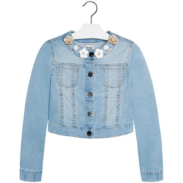 Куртка джинсовая для девочки MayoralВерхняя одежда<br>Куртка для девочки от известной испанской марки Mayoral подчеркнет индивидуальность юной модницы. <br><br>Дополнительная информация:<br><br>- Стильный дизайн.<br>- Застегивается на молнию.<br>- Манжеты рукавов на пуговицах.<br>- 2 кармана на груди.<br>- Аппликация в виде цветов.<br>- Ассиметричный низ (сзади короче). <br>- Состав: 98% хлопок, 2% эластан. <br><br>Куртку для девочки Mayoral (Майорал) можно купить в нашем магазине.<br><br>Ширина мм: 356<br>Глубина мм: 10<br>Высота мм: 245<br>Вес г: 519<br>Цвет: синий<br>Возраст от месяцев: 132<br>Возраст до месяцев: 144<br>Пол: Женский<br>Возраст: Детский<br>Размер: 152,158,170,128,140,164<br>SKU: 4538510
