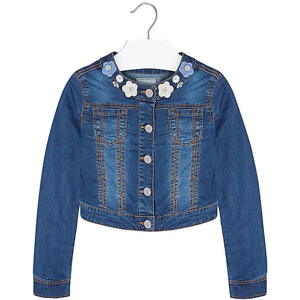 Куртка джинсовая для девочки MayoralДжинсовая одежда<br>Куртка для девочки от известной испанской марки Mayoral подчеркнет индивидуальность юной модницы. <br><br>Дополнительная информация:<br><br>- Стильный дизайн.<br>- Застегивается на молнию.<br>- Манжеты рукавов на пуговицах.<br>- 2 кармана на груди.<br>- Аппликация в виде цветов.<br>- Ассиметричный низ (сзади-короче). <br>- Состав: 98% хлопок, 2% эластан. <br><br>Куртку для девочки Mayoral (Майорал) можно купить в нашем магазине.<br>Ширина мм: 356; Глубина мм: 10; Высота мм: 245; Вес г: 519; Цвет: синий; Возраст от месяцев: 108; Возраст до месяцев: 120; Пол: Женский; Возраст: Детский; Размер: 140,158,152,164,128,170; SKU: 4538517;