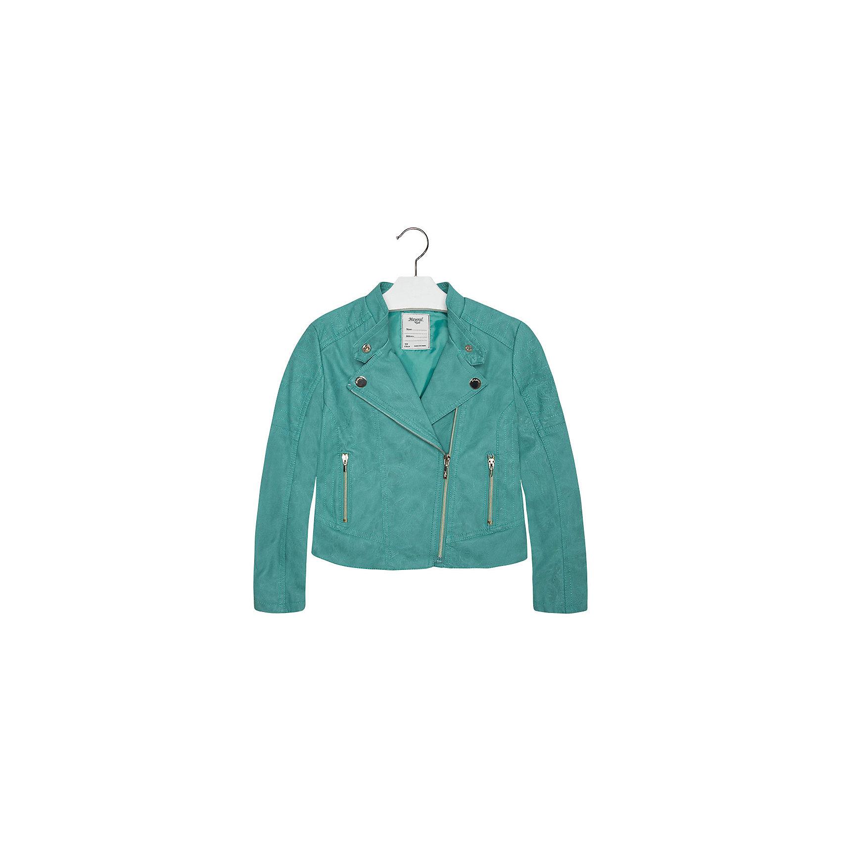 Куртка для девочки MayoralКуртка для девочки от известной испанской марки Mayoral приведет в восторг любую девочку и добавит образу юной модницы оригинальность и стиль. <br><br>Дополнительная информация:<br><br>- Стильный, актуальный дизайн.<br>- Застегивается на молнию.<br>- Воротник-стойка застегивается на кнопки.<br>- 2 передних кармана на молнии.<br>- Декоративная отстрочка.<br>- Декоративные складки на спине.<br>- Состав: верх - 100% полиуретан, подкладка - 100% полиэстер. <br><br>Куртку для девочки Mayoral (Майорал) можно купить в нашем магазине.<br><br>Ширина мм: 356<br>Глубина мм: 10<br>Высота мм: 245<br>Вес г: 519<br>Цвет: зеленый<br>Возраст от месяцев: 132<br>Возраст до месяцев: 144<br>Пол: Женский<br>Возраст: Детский<br>Размер: 152,140,170,128,158,164<br>SKU: 4538531