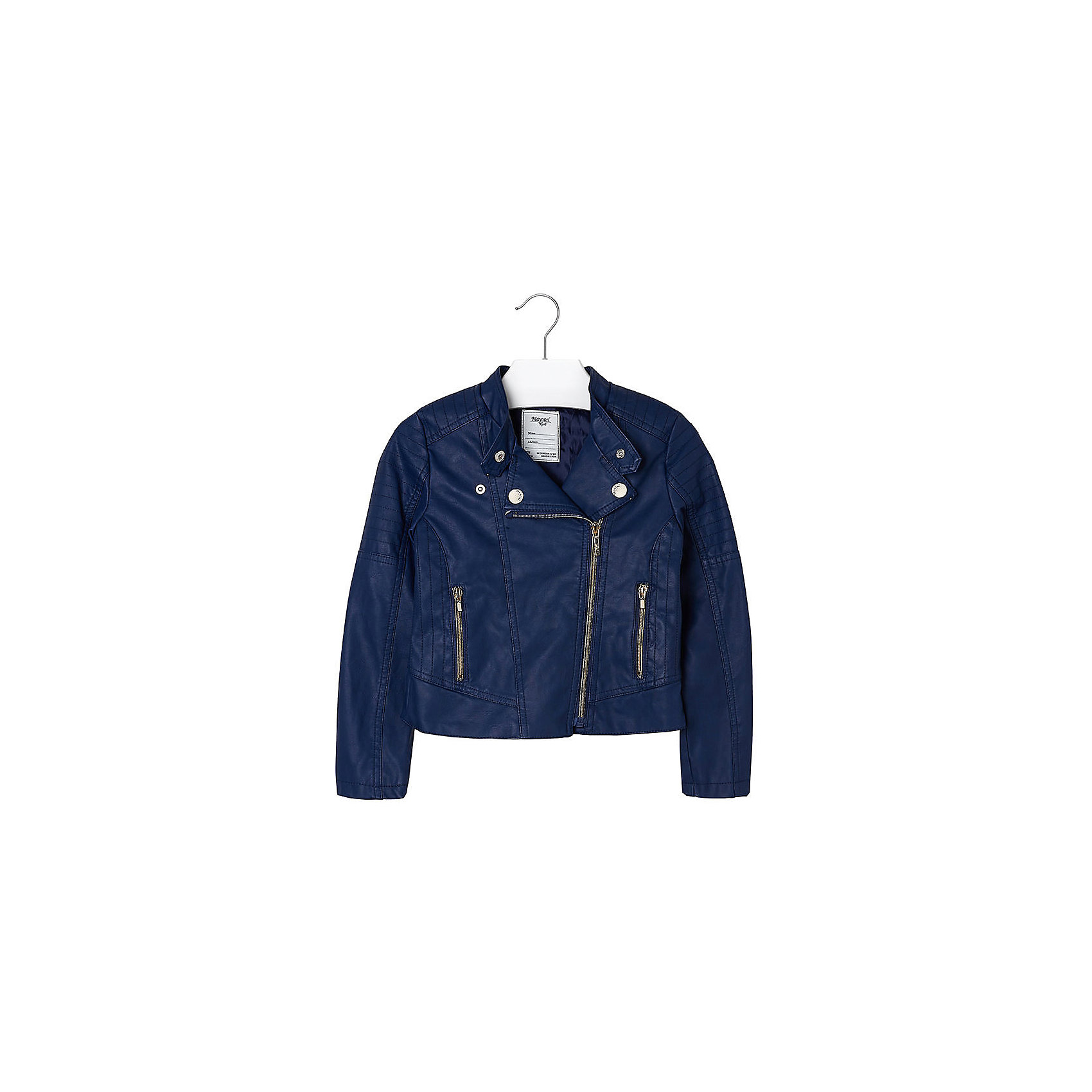 Куртка для девочки MayoralКуртка для девочки от известной испанской марки Mayoral приведет в восторг любую девочку и добавит образу юной модницы оригинальность и стиль. <br><br>Дополнительная информация:<br><br>- Стильный, актуальный дизайн.<br>- Застегивается на молнию.<br>- Воротник-стойка застегивается на кнопки.<br>- 2 передних кармана на молнии.<br>- Декоративная отстрочка.<br>- Декоративные складки на спине.<br>- Состав: верх - 100% полиуретан, подкладка - 100% полиэстер. <br><br>Куртку для девочки Mayoral (Майорал) можно купить в нашем магазине.<br><br>Ширина мм: 356<br>Глубина мм: 10<br>Высота мм: 245<br>Вес г: 519<br>Цвет: синий<br>Возраст от месяцев: 84<br>Возраст до месяцев: 96<br>Пол: Женский<br>Возраст: Детский<br>Размер: 128,170,140,152,158,164<br>SKU: 4538538