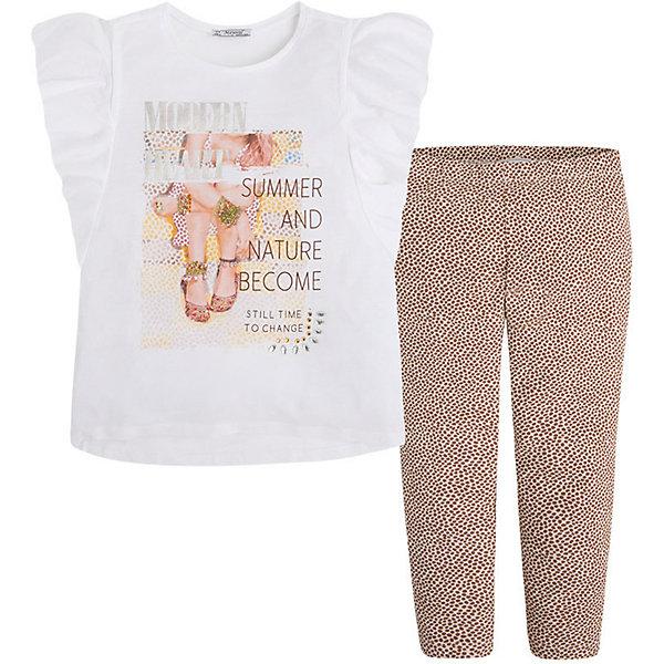 Комплект для девочки: футболка и леггинсы MayoralКомплекты<br>Комплект: леггинсы и футболка для девочки от испанской марки Mayoral приведет в восторг юных модниц и займет достойное место в летнем гардеробе. <br><br>Дополнительная информация:<br><br>- Мягкая, приятная на ощупь ткань.<br>- Футболка прямого кроя.<br>- Округлый вырез горловины.<br>- Декорирована принтом.<br>- Леггинсы на эластичном поясе с резинкой.<br>- Отлично смотрятся на фигуре.<br>- Мелкий ненавязчивый принт.<br>- Состав: 50% хлопок, 50% вискоза. <br><br>Комплект: леггинсы и футболку для девочки Mayoral (Майорал) можно купить в нашем магазине.<br><br>Ширина мм: 123<br>Глубина мм: 10<br>Высота мм: 149<br>Вес г: 209<br>Цвет: бежевый<br>Возраст от месяцев: 84<br>Возраст до месяцев: 96<br>Пол: Женский<br>Возраст: Детский<br>Размер: 128,164,140,152,158,170<br>SKU: 4538748
