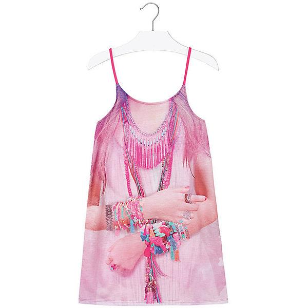 Платье для девочки MayoralПлатья и сарафаны<br>Платье для девочки от известной испанской марки Mayoral - идеальный вариант для жаркой погоды. <br><br>Дополнительная информация:<br><br>- На тонких регулируемых бретелях.<br>- Оригинальный принт спереди.<br>- Оборки на спине. <br>- Состав: 97% полиэстер, 3% эластан.<br><br>Платье для девочки Mayoral (Майорал) можно купить в нашем магазине.<br><br>Ширина мм: 236<br>Глубина мм: 16<br>Высота мм: 184<br>Вес г: 177<br>Цвет: розовый<br>Возраст от месяцев: 84<br>Возраст до месяцев: 96<br>Пол: Женский<br>Возраст: Детский<br>Размер: 128,164,158,170,152,140<br>SKU: 4538915