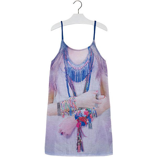 Платье для девочки MayoralЛетние платья и сарафаны<br>Платье для девочки от известной испанской марки Mayoral - идеальный вариант для жаркой погоды. <br><br>Дополнительная информация:<br><br>- На тонких регулируемых бретелях.<br>- Оригинальный принт спереди.<br>- Оборки на спине. <br>- Состав: 97% полиэстер, 3% эластан.<br><br>Платье для девочки Mayoral (Майорал) можно купить в нашем магазине.<br><br>Ширина мм: 236<br>Глубина мм: 16<br>Высота мм: 184<br>Вес г: 177<br>Цвет: синий<br>Возраст от месяцев: 132<br>Возраст до месяцев: 144<br>Пол: Женский<br>Возраст: Детский<br>Размер: 170,158,128,140,164,152<br>SKU: 4538922