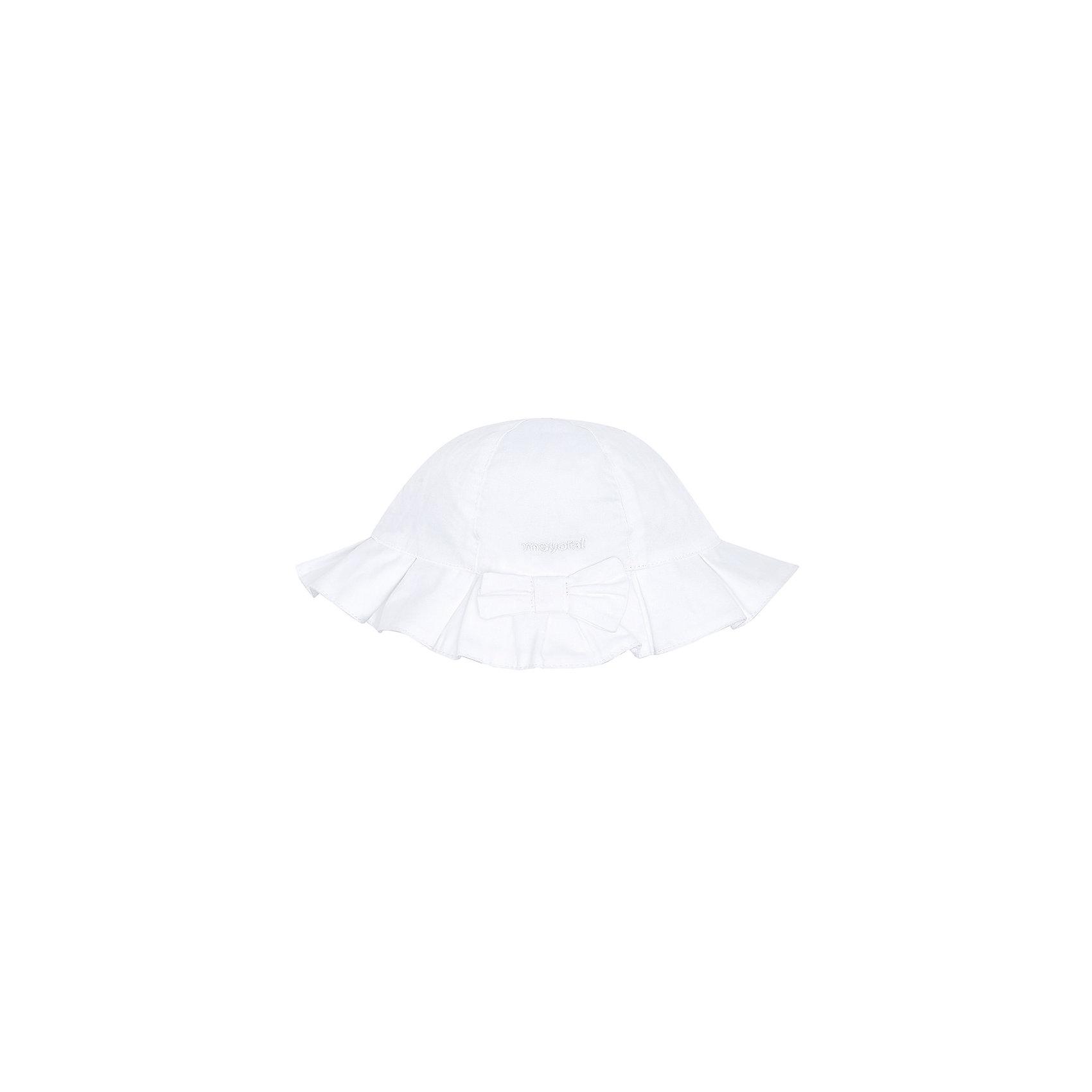 Панама для девочки MayoralПанама для девочки от известной испанской марки Mayoral убережет голову ребенка от ярких солнечных лучей и  добавит образу юной модницы очарование и шарм.<br><br>Дополнительная информация:<br><br>- Декоративный бант спереди.<br>- Вышивка с логотипом бренда. <br>- Состав: верх - 100% хлопок; подкладка - 65% полиэстер, 35% хлопок. <br><br><br>Панаму для девочки Mayoral (Майорал) можно купить в нашем магазине.<br><br>Ширина мм: 89<br>Глубина мм: 117<br>Высота мм: 44<br>Вес г: 155<br>Цвет: белый<br>Возраст от месяцев: 6<br>Возраст до месяцев: 9<br>Пол: Женский<br>Возраст: Детский<br>Размер: 46,50,48<br>SKU: 4539062