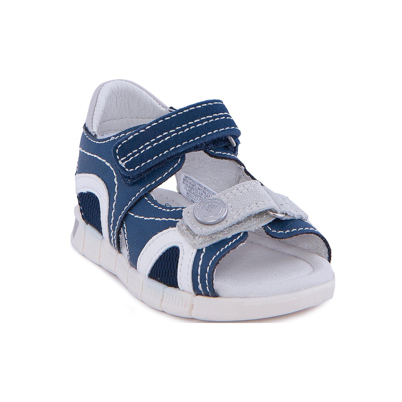 Сандалии MayoralСандалии от известной испанской марки Mayoral - прекрасный вариант для жаркой погоды или же сменной обуви. <br><br>Дополнительная информация:<br><br>- Рифленая антискользящая подошва. <br>- Застегиваются на липучки. <br>- Декоративная отстрочка.<br>- Текстильный вставки для вентиляции. <br>- Декорированы металлической кнопкой. <br>- Состав: материал верха - 58% полиуретан, 24% полиэстер, 18% кожа; подкладка, стелька - 100% кожа; подошва - 100% синтетический материал.<br><br>Сандалии Mayoral (Майорал) можно купить в нашем магазине.<br><br>Ширина мм: 219<br>Глубина мм: 154<br>Высота мм: 121<br>Вес г: 343<br>Цвет: синий<br>Возраст от месяцев: 12<br>Возраст до месяцев: 15<br>Пол: Унисекс<br>Возраст: Детский<br>Размер: 21,23,20,22,24,27,26,25<br>SKU: 4539630