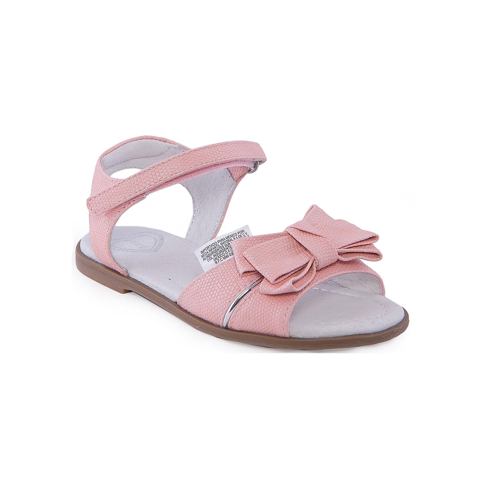 Сандалии для девочки  MayoralСандалии для девочки от известной марки Mayoral<br><br>Красивые удобные сандалии дополнят образ девочки в новом весенне-летнем сезоне. Эта модель разработала специально для девочек, любящих платья и юбки - именно с женственными моделями такие туфли смотрятся особенно хорошо. Сделаны они из легкого, но прочного материала. Комфортно садятся по ноге и не натирают.<br><br>Особенности модели:<br><br>- цвет: розовый;<br>- плоская нескользящая подошва;<br>- материал - искусственная кожа;<br>- застежка-липучка;<br>- декорирована бантом;<br>- открытый носок и пятка.<br><br>Дополнительная информация:<br><br>Состав: верх - искусственная кожа;<br>стелька - натуральная кожа;<br>подошва - полиуретан.<br><br>Сандалии для девочки от Mayoral (Майорал) можно купить в нашем магазине.<br><br>Ширина мм: 219<br>Глубина мм: 154<br>Высота мм: 121<br>Вес г: 343<br>Цвет: розовый<br>Возраст от месяцев: 132<br>Возраст до месяцев: 144<br>Пол: Женский<br>Возраст: Детский<br>Размер: 32,34,33,35,30,26,27,28,29,31<br>SKU: 4539860
