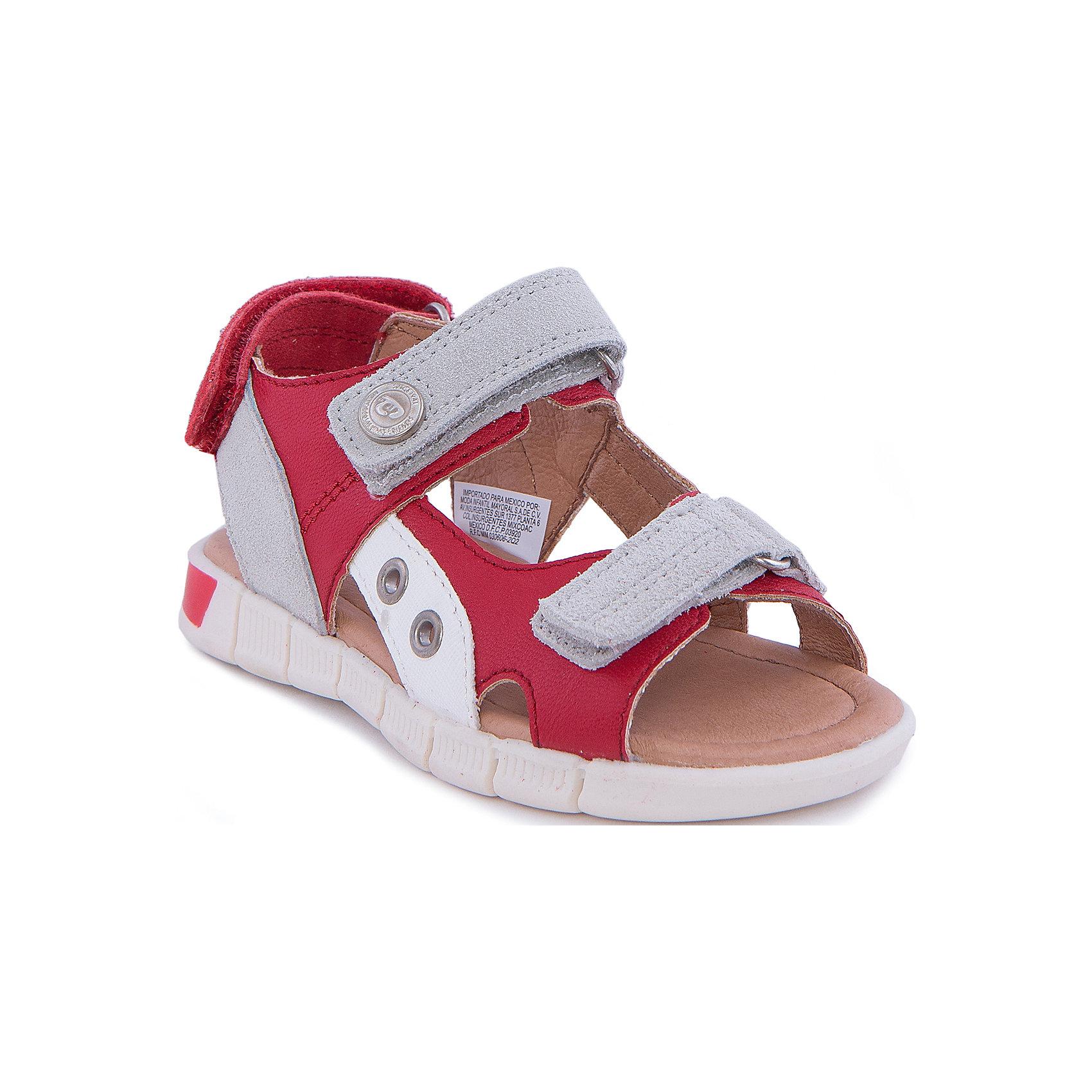 Сандалии MayoralСандалии<br>Сандалии от известной испанской марки Mayoral - прекрасный вариант для жаркой погоды или же сменной обуви. <br><br>Дополнительная информация:<br><br>- Рифленая антискользящая подошва. <br>- Застегиваются на липучки. <br>- Яркие кожаные вставки.<br>- Декорированы металлической кнопкой. <br>- Состав: материал верха - 50 % натуральная кожа, 50 % полиуретан; подкладка, стелька - 100% кожа; подошва - 100% полиуретан.<br><br>Сандалии Mayoral (Майорал) можно купить в нашем магазине.<br><br>Ширина мм: 219<br>Глубина мм: 154<br>Высота мм: 121<br>Вес г: 343<br>Цвет: красный<br>Возраст от месяцев: 120<br>Возраст до месяцев: 132<br>Пол: Унисекс<br>Возраст: Детский<br>Размер: 34,27,32,26,28,29,30,35,33,31<br>SKU: 4540182