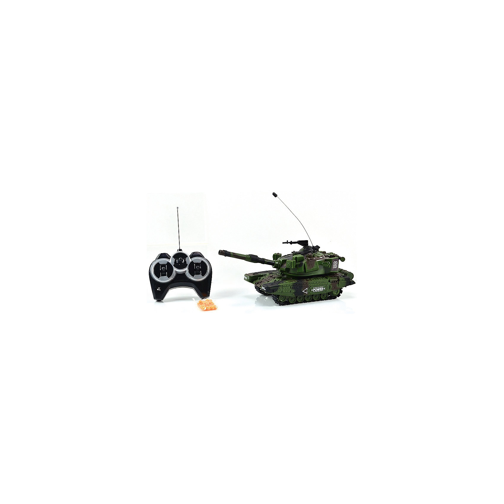 Танк МТ-90, стреляет пульками, со звуком, на радиоуправлении, Mioshi ArmyТанк МТ-90 на радиоуправлении, Mioshi Army, порадует всех юных любителей военной техники. Игрушка является уменьшенной точной копией настоящего танка с тщательной проработкой всех деталей. Танк управляется с помощью пульта радиоуправления, может двигаться во всех направлениях, поворачивать башню на 360 градусов, пушка поднимается и опускается. Танк стреляет пластиковыми шариками на большое расстояние, при этом каждый выстрел сопровождается реалистичным звуком. Во время передвижения слышен характерный звук движущегося танка, имеются световые эффекты. Питание осуществляется от аккумулятора (входит в комплекте поставки вместе с зарядным устройством). Игрушка выполнена из качественного и прочного материала, упакована в яркую подарочную коробку. Высокое качество и надежность обеспечивают танку Mioshi Army долгий срок эксплуатации.<br><br>Дополнительная информация:<br><br>- В комплекте: танк, пульт дистанционного управления, зарядное устройство, аккумуляторная батарея, шарики 6 мм., инструкция. <br>- Требуются батарейки: 6 х AA.<br>- Материал: пластик.<br>- Размер танка: 27 см.<br>- Размер: 38 х 15 х 14 см.<br>- Вес: 0,6 кг.<br><br>Танк МТ-90, стреляет пульками, со звуком, на радиоуправлении, Mioshi Army, можно купить в нашем интернет-магазине.<br><br>Ширина мм: 380<br>Глубина мм: 140<br>Высота мм: 150<br>Вес г: 600<br>Возраст от месяцев: 36<br>Возраст до месяцев: 72<br>Пол: Мужской<br>Возраст: Детский<br>SKU: 4540563