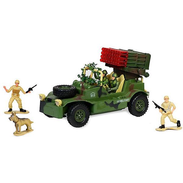 Военный джип с зенитной установкой, с фигурками, подветкой и звуком, на радиоуправлении, Mioshi ArmyВоенный транспорт<br>Военный джип на радиоуправлении, Mioshi Army, порадует всех юных любителей военной техники. Игрушка является уменьшенной точной копией настоящего военного джипа в масштабе 1:20, все детали тщательно проработаны. Автомобиль управляется с помощью пульта радиоуправления, двигается вперед/назад, влево/вправо, выполняет повороты. Зенитная установка поворачивается и может с лёгкостью выследить противника. Во время передвижения слышен реалистичный звук работающего двигателя. Имеются световые эффекты. Игрушка выполнена из качественного и прочного материала, упакована в яркую подарочную коробку. Высокое качество и надежность обеспечивают автомобилю Mioshi Army долгий срок эксплуатации. В комплект также входят фигурки двух солдат и собаки, которые сделают игру еще интересней и реалистичнее.<br><br>Дополнительная информация:<br><br>- В комплекте: джип, пульт дистанционного управления, фигурки (2 солдата и собака), инструкция. <br>- Пульт работает от батареек типа АА (входят в комплект).<br>- Частота: 27 Мгц.<br>- Материал: пластик.<br>- Размер джипа: 30 см.<br>- Размер упаковки: 43,5 х 17 х 25 см.<br>- Вес: 0,472 кг.<br><br>Военный джип с зенитной установкой, с фигурками, подсветкой и звуком, на радиоуправлении, Mioshi Army, можно купить в нашем интернет-магазине.<br>Ширина мм: 435; Глубина мм: 170; Высота мм: 250; Вес г: 1628; Возраст от месяцев: 36; Возраст до месяцев: 72; Пол: Мужской; Возраст: Детский; SKU: 4540564;