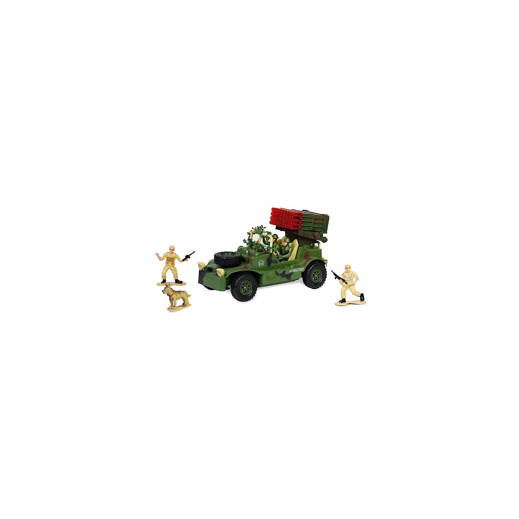 Военный джип с зенитной установкой, с фигурками, подветкой и звуком, на радиоуправлении, Mioshi ArmyВоенный транспорт<br>Военный джип на радиоуправлении, Mioshi Army, порадует всех юных любителей военной техники. Игрушка является уменьшенной точной копией настоящего военного джипа в масштабе 1:20, все детали тщательно проработаны. Автомобиль управляется с помощью пульта радиоуправления, двигается вперед/назад, влево/вправо, выполняет повороты. Зенитная установка поворачивается и может с лёгкостью выследить противника. Во время передвижения слышен реалистичный звук работающего двигателя. Имеются световые эффекты. Игрушка выполнена из качественного и прочного материала, упакована в яркую подарочную коробку. Высокое качество и надежность обеспечивают автомобилю Mioshi Army долгий срок эксплуатации. В комплект также входят фигурки двух солдат и собаки, которые сделают игру еще интересней и реалистичнее.<br><br>Дополнительная информация:<br><br>- В комплекте: джип, пульт дистанционного управления, фигурки (2 солдата и собака), инструкция. <br>- Пульт работает от батареек типа АА (входят в комплект).<br>- Частота: 27 Мгц.<br>- Материал: пластик.<br>- Размер джипа: 30 см.<br>- Размер упаковки: 43,5 х 17 х 25 см.<br>- Вес: 0,472 кг.<br><br>Военный джип с зенитной установкой, с фигурками, подсветкой и звуком, на радиоуправлении, Mioshi Army, можно купить в нашем интернет-магазине.<br><br>Ширина мм: 435<br>Глубина мм: 170<br>Высота мм: 250<br>Вес г: 1628<br>Возраст от месяцев: 36<br>Возраст до месяцев: 72<br>Пол: Мужской<br>Возраст: Детский<br>SKU: 4540564