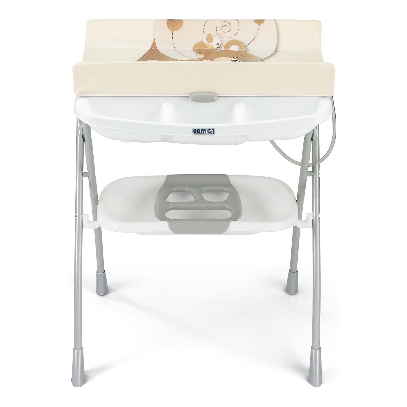 Стол для пеленания с ванночкой Volare, Мишка, CAM,  бежевый