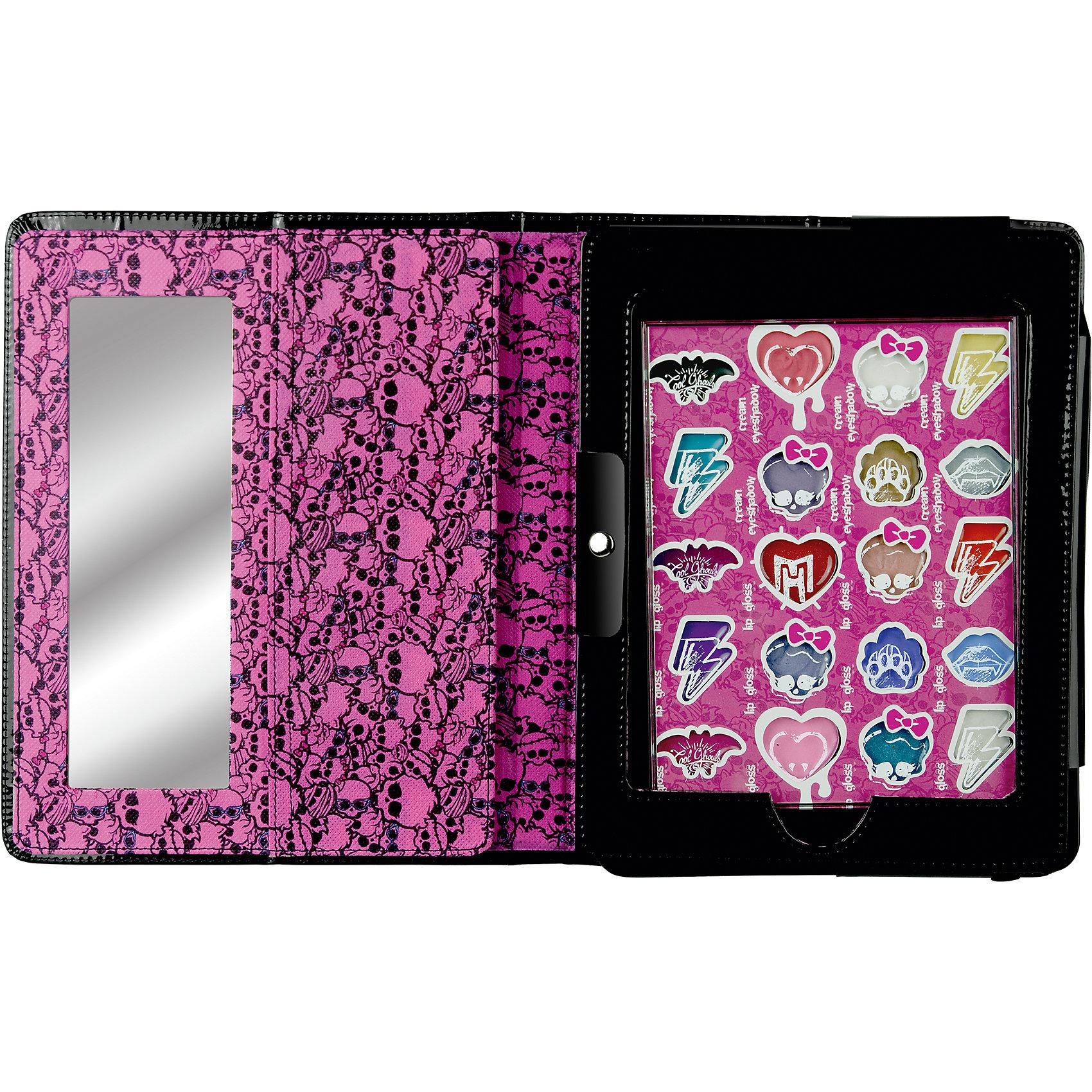 Игровой набор детской декоративной косметики в чехле для планшета, Monster HighВне категории Kerstin - Девочки<br>Игровой набор детской декоративной косметики в чехле для планшета, Monster High (Монстер Хай).<br><br>Характеристики:<br><br>• есть все необходимые инструменты<br>• не содержит парабенов и пальмового масла<br>• долго держится и легко стирается<br>• в комплекте:  палитра блесков для губ, палитра кремовых теней для век, кисть, зеркальце<br>• размер: 19,5х3х25,5 см<br>• перед первым применением рекомендуется провести тест на аллергию: нанесите немного косметики на кожу на 30-40 минут и проверьте реакцию<br><br>Набор декоративной косметики Monster High состоит из нескольких оттенков теней и блеска для губ. Косметика на водной основе гипоаллергенна и полностью безопасна для детской кожи. Яркий чехол для планшета и внутренняя упаковка в стиле Школы Монстров порадуют любительницу мультфильма. Девочка сможет создать неповторимый макияж, используя свою фантазию.<br><br>Игровой набор детской декоративной косметики в чехле для планшета, Monster High (Монстер Хай) можно купить в нашем интернет-магазине.<br><br>Ширина мм: 200<br>Глубина мм: 28<br>Высота мм: 258<br>Вес г: 552<br>Возраст от месяцев: 48<br>Возраст до месяцев: 108<br>Пол: Женский<br>Возраст: Детский<br>SKU: 4540659