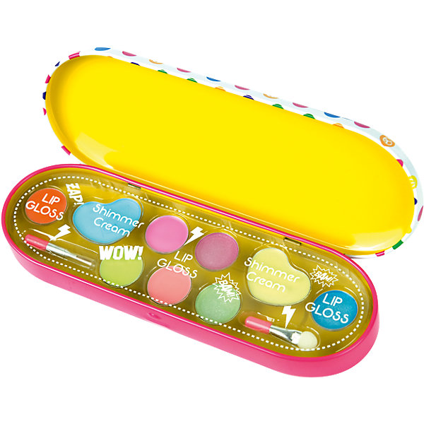 Игровой набор детской декоративной косметики POP в пеналеСалон красоты<br>Характеристики:<br><br>• Наименование: детская декоративная косметика<br>• Предназначение: для сюжетно-ролевых игр<br>• Пол: для девочки<br>• Материал: натуральные косметические компоненты, пластик<br>• Цвет: розовый, сиреневый<br>• Комплектация: 7 оттенков блеска для губ, 2 оттенка кремовых теней, аппликатор, кисть<br>• Размеры (Д*Ш*В): 18*6*3 см<br>• Вес: 80 г <br>• Упаковка: пластиковый пенал<br><br>Игровой набор детской декоративной косметики POP в пенале – это набор игровой детской косметики от Markwins, которая вот уже несколько десятилетий специализируется на выпуске детской косметики. Рецептура декоративной детской косметики разработана совместно с косметологами и медиками, в основе рецептуры – водная основа, а потому она гипоаллергенны, не вызывает раздражений на детской коже и легко смывается, не оставляя следа. Безопасность продукции подтверждена международными сертификатами качества и безопасности. <br>Игровой набор детской декоративной косметики POP состоит из палитры теней и блеска для губ, в комплекте предусмотрены кисточка и аппликатор для нанесения макияжа. Набор упакован в пенал в крупный разноцветный горох. Косметические средства, входящие в состав набора, имеют длительный срок хранения – 12 месяцев. Игровой набор детской декоративной косметики POP от Markwins может стать незаменимым праздничным подарком для любой маленькой модницы!<br><br>Игровой набор детской декоративной косметики POP в пенале можно купить в нашем интернет-магазине.<br><br>Ширина мм: 177<br>Глубина мм: 58<br>Высота мм: 27<br>Вес г: 75<br>Возраст от месяцев: 48<br>Возраст до месяцев: 108<br>Пол: Женский<br>Возраст: Детский<br>SKU: 4540660