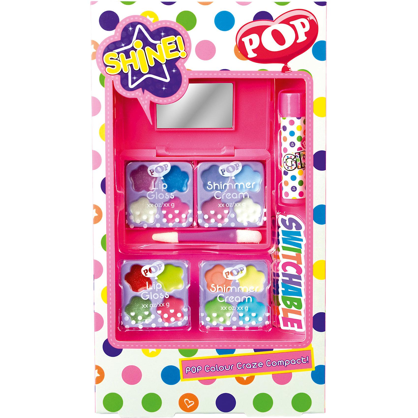 Игровой набор детской декоративной косметики POP для лицаХарактеристики:<br><br>• Наименование: детская декоративная косметика<br>• Предназначение: для сюжетно-ролевых игр<br>• Пол: для девочки<br>• Материал: натуральные косметические компоненты, пластик, картон<br>• Цвет: розовый, бирюзовый, желтый, зеленый и др.<br>• Комплектация: 8 оттенков блеска для губ, 8 оттенков кремовых теней, лака для ногтей, 2 баночки блеска для ногтей, лак с кистью для нанесения рисунка, блеск для губ в футляре, двусторонний аппликатор, зеркало в футляре<br>• Размеры (Д*Ш*В): 26*15*3,5 см<br>• Вес: 115 г <br>• Упаковка: картонная коробка с блистером<br><br>Игровой набор детской декоративной косметики POP для лица – это набор игровой детской косметики от Markwins, которая вот уже несколько десятилетий специализируется на выпуске детской косметики. Рецептура декоративной детской косметики разработана совместно с косметологами и медиками, в основе рецептуры – водная основа, а потому она гипоаллергенны, не вызывает раздражений на детской коже и легко смывается, не оставляя следа. Безопасность продукции подтверждена международными сертификатами качества и безопасности. <br>Игровой набор детской декоративной косметики POP состоит из палитры оттенков блеска для губ и теней для век. В комплекте предусмотрен двухсторонний аппликатор и зеркальце в футляре. Косметические средства, входящие в состав набора, имеют длительный срок хранения – 12 месяцев. Игровой набор детской декоративной косметики POP от Markwins может стать незаменимым праздничным подарком для любой маленькой модницы!<br><br>Игровой набор детской декоративной косметики POP для лица можно купить в нашем интернет-магазине.<br><br>Ширина мм: 140<br>Глубина мм: 28<br>Высота мм: 252<br>Вес г: 110<br>Возраст от месяцев: 48<br>Возраст до месяцев: 108<br>Пол: Женский<br>Возраст: Детский<br>SKU: 4540663