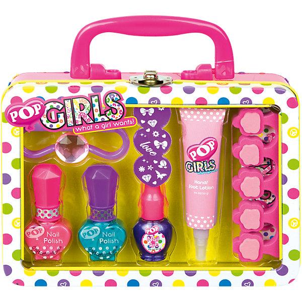 Игровой набор детской декоративной косметики POP для ногтейВне категории Kerstin - Девочки<br>Характеристики:<br><br>• Наименование: детская декоративная косметика<br>• Предназначение: для сюжетно-ролевых игр<br>• Пол: для девочки<br>• Материал: натуральные косметические компоненты, пластик, металл<br>• Цвет: бирюзовый, синий, розовый и др.<br>• Комплектация: 2 оттенка лака для ногтей, лак с кистью для нанесения рисунка, лосьон для рук и ног, щетка для ногтей, пилочка, разделитель для пальцев, наклейки, колечко, чемоданчик<br>• Размеры (Д*Ш*В): 18*17*6 см<br>• Вес: 235 г <br>• Упаковка: жестяной чемоданчик с ручкой<br><br>Игровой набор детской декоративной косметики POP для ногтей – это набор игровой детской косметики от Markwins, которая вот уже несколько десятилетий специализируется на выпуске детской косметики. Рецептура декоративной детской косметики разработана совместно с косметологами и медиками, в основе рецептуры – водная основа, а потому она гипоаллергенны, не вызывает раздражений на детской коже и легко смывается, не оставляя следа. Безопасность продукции подтверждена международными сертификатами качества и безопасности. <br>Игровой набор детской декоративной косметики POP состоит из 3-х оттенков лака для ногтей, лака с кисточкой для росписи ногтей и наклеек. Кроме того, в наборе предусмотрены маникюрные инструменты и лосьон для ухода за кожей рук и ног. Косметические средства, входящие в состав набора, имеют длительный срок хранения – 12 месяцев. Игровой набор детской декоративной косметики POP от Markwins может стать незаменимым праздничным подарком для любой маленькой модницы!<br><br>Игровой набор детской декоративной косметики POP для ногтей можно купить в нашем интернет-магазине.<br><br>Ширина мм: 179<br>Глубина мм: 140<br>Высота мм: 57<br>Вес г: 233<br>Возраст от месяцев: 48<br>Возраст до месяцев: 108<br>Пол: Женский<br>Возраст: Детский<br>SKU: 4540665