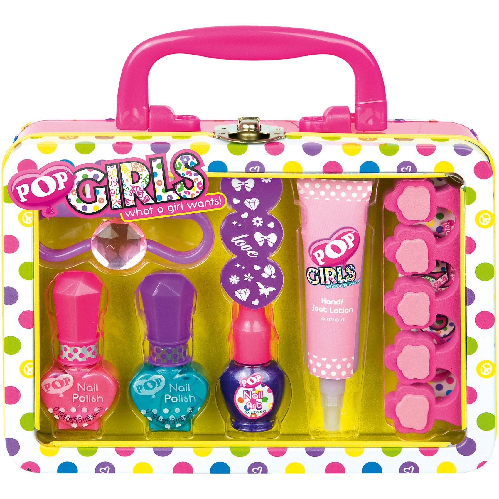 Игровой набор детской декоративной косметики POP для ногтейХарактеристики:<br><br>• Наименование: детская декоративная косметика<br>• Предназначение: для сюжетно-ролевых игр<br>• Пол: для девочки<br>• Материал: натуральные косметические компоненты, пластик, металл<br>• Цвет: бирюзовый, синий, розовый и др.<br>• Комплектация: 2 оттенка лака для ногтей, лак с кистью для нанесения рисунка, лосьон для рук и ног, щетка для ногтей, пилочка, разделитель для пальцев, наклейки, колечко, чемоданчик<br>• Размеры (Д*Ш*В): 18*17*6 см<br>• Вес: 235 г <br>• Упаковка: жестяной чемоданчик с ручкой<br><br>Игровой набор детской декоративной косметики POP для ногтей – это набор игровой детской косметики от Markwins, которая вот уже несколько десятилетий специализируется на выпуске детской косметики. Рецептура декоративной детской косметики разработана совместно с косметологами и медиками, в основе рецептуры – водная основа, а потому она гипоаллергенны, не вызывает раздражений на детской коже и легко смывается, не оставляя следа. Безопасность продукции подтверждена международными сертификатами качества и безопасности. <br>Игровой набор детской декоративной косметики POP состоит из 3-х оттенков лака для ногтей, лака с кисточкой для росписи ногтей и наклеек. Кроме того, в наборе предусмотрены маникюрные инструменты и лосьон для ухода за кожей рук и ног. Косметические средства, входящие в состав набора, имеют длительный срок хранения – 12 месяцев. Игровой набор детской декоративной косметики POP от Markwins может стать незаменимым праздничным подарком для любой маленькой модницы!<br><br>Игровой набор детской декоративной косметики POP для ногтей можно купить в нашем интернет-магазине.<br><br>Ширина мм: 179<br>Глубина мм: 140<br>Высота мм: 57<br>Вес г: 233<br>Возраст от месяцев: 48<br>Возраст до месяцев: 108<br>Пол: Женский<br>Возраст: Детский<br>SKU: 4540665