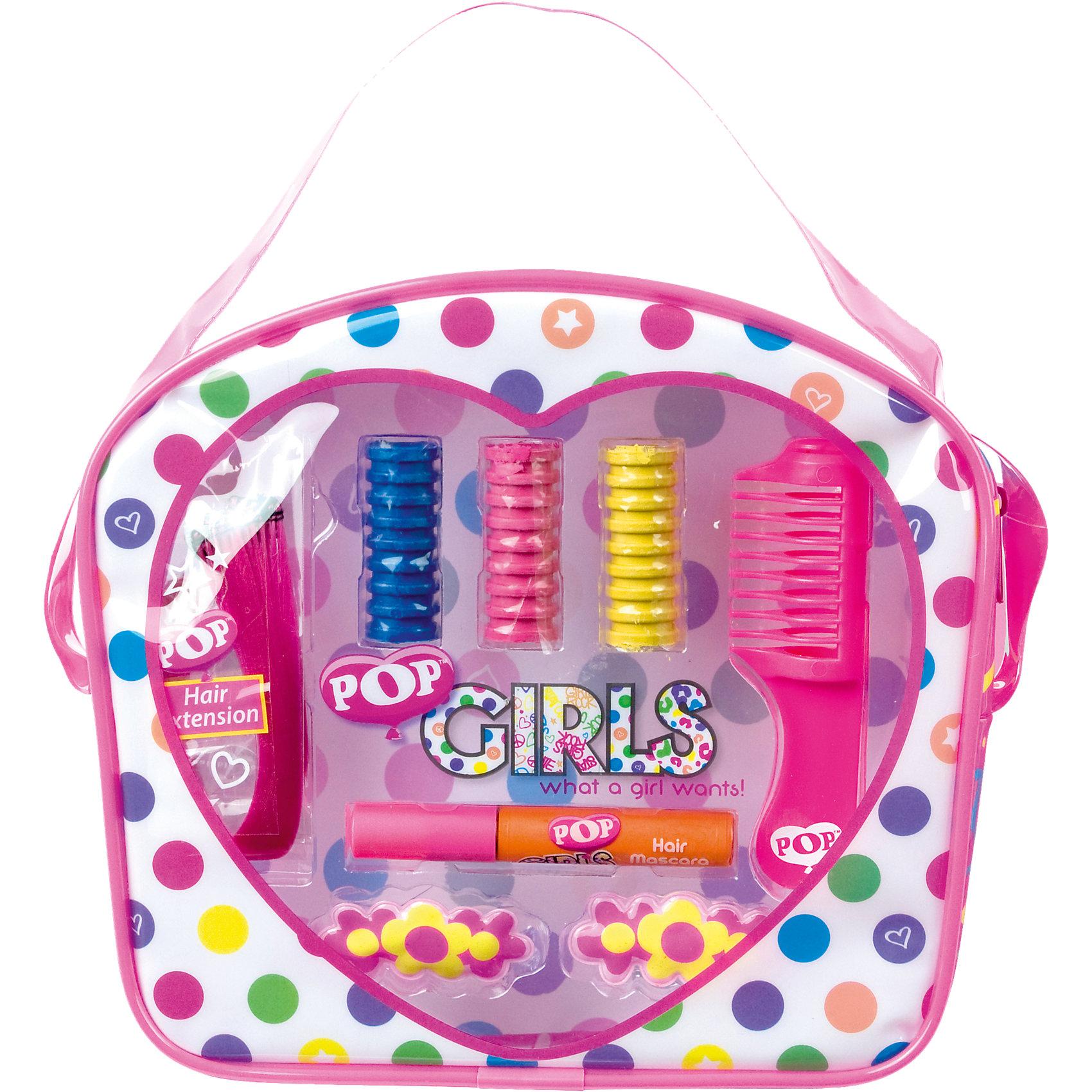 Игровой набор детской декоративной косметики POP для волосХарактеристики:<br><br>• Наименование: детская декоративная косметика<br>• Предназначение: для сюжетно-ролевых игр<br>• Пол: для девочки<br>• Материал: натуральные косметические компоненты, пластик<br>• Цвет: синий, розовый, желтый и др.<br>• Комплектация: 3 мелка для окрашивания волос, краска для волос, цветная прядь искусственных волос, расческа, 2 заколки<br>• Размеры (Д*Ш*В): 23*21*7 см<br>• Вес: 140 г <br>• Упаковка: сумочка с ручкой<br><br>Игровой набор детской декоративной косметики POP для волос – это набор игровой детской косметики от Markwins, которая вот уже несколько десятилетий специализируется на выпуске детской косметики. Рецептура декоративной детской косметики разработана совместно с косметологами и медиками, в основе рецептуры – водная основа, а потому она гипоаллергенны, не вызывает раздражений на детской коже и легко смывается, не оставляя следа. Безопасность продукции подтверждена международными сертификатами качества и безопасности. <br>Игровой набор детской декоративной косметики POP состоит из кометических средств для окрашивания волос и создания ярких оригинальных причесок. В комплекте предусмотрены аксессуары – расческа и заколки. Косметические средства, входящие в состав набора, имеют длительный срок хранения – 12 месяцев. Игровой набор детской декоративной косметики POP от Markwins может стать незаменимым праздничным подарком для любой маленькой модницы!<br><br>Игровой набор детской декоративной косметики POP для волос можно купить в нашем интернет-магазине.<br><br>Ширина мм: 200<br>Глубина мм: 56<br>Высота мм: 183<br>Вес г: 135<br>Возраст от месяцев: 48<br>Возраст до месяцев: 108<br>Пол: Женский<br>Возраст: Детский<br>SKU: 4540666