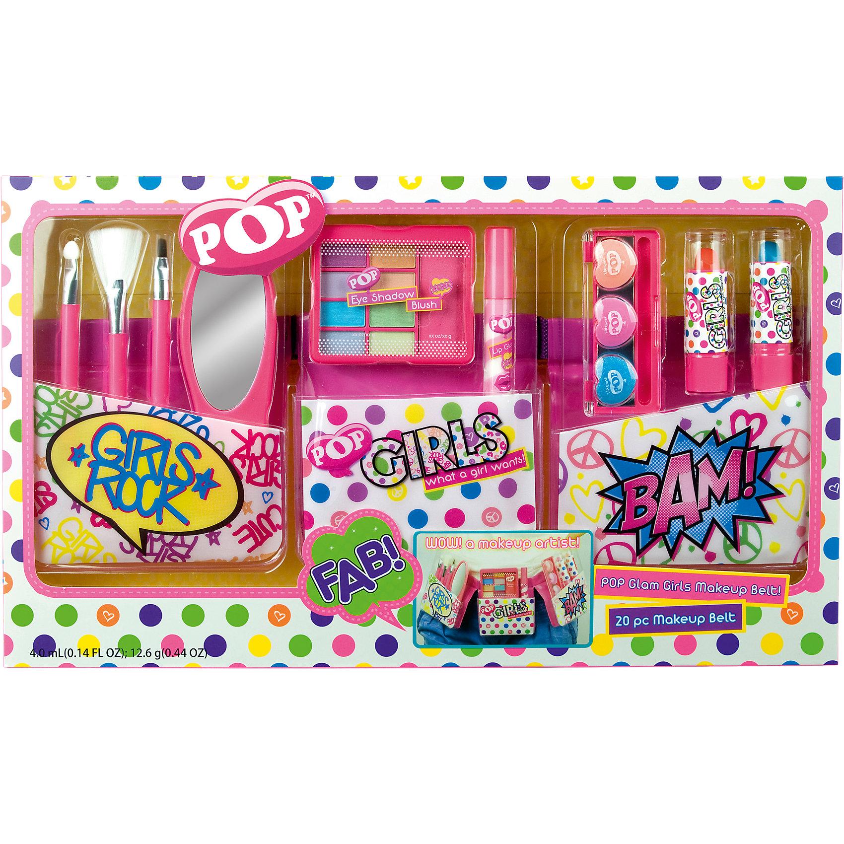 Игровой набор детской декоративной косметики POP с поясом визажистаКосметика, грим и парфюмерия<br>Игровой набор детской декоративной косметики POP с поясом визажиста, Markwins (Марквинс).<br><br>Характеристики:<br><br>• яркие цвета<br>• косметика полностью безопасна для ребенка<br>• пояс регулируется<br>• в комплекте: пояс визажиста, палитра теней для век, румяна, блеск для губ с аппликатором, палитра блесков для губ в футляре с зеркальцем, губные помады в футляре, аппликатор,2 кисти , зеркало <br>• размер: 39х4х23 см<br>• вес: 380 грамм<br>• перед первым применением рекомендуется провести тест на аллергию: нанесите немного косметики на кожу на 30-40 минут и проверьте реакцию<br><br>Игровой набор POP идеально подойдет девочкам, который мечтают стать визажистами, ведь в нем есть всё, что потребуется начинающему мастеру: тени, помады, блески для губ, зеркало и кисти. Вся косметика представлена в нескольких цветовых оттенках. Косметика полностью безопасна для ребенка и легко смывается водой в случае неудачного нанесения. С помощью этого набора девочка научится создавать прекрасный макияж себе или подружкам!<br><br>Игровой набор детской декоративной косметики POP с поясом визажиста вы можете купить в нашем интернет-магазине.<br><br>Ширина мм: 390<br>Глубина мм: 38<br>Высота мм: 228<br>Вес г: 346<br>Возраст от месяцев: 48<br>Возраст до месяцев: 108<br>Пол: Женский<br>Возраст: Детский<br>SKU: 4540667
